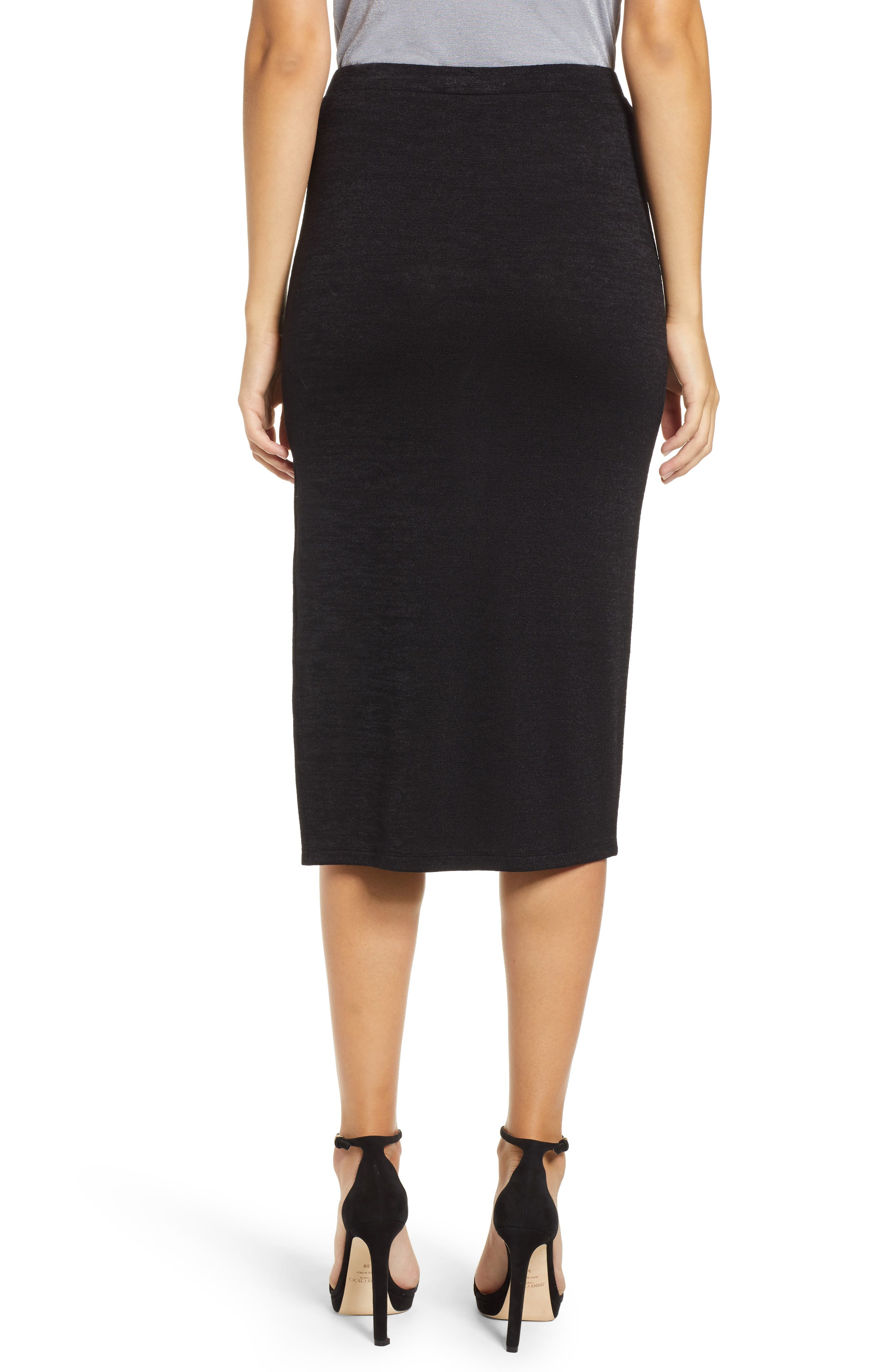 High Slit Marled Midi Skirt,                             Alternate thumbnail 2, color,                             BLACK