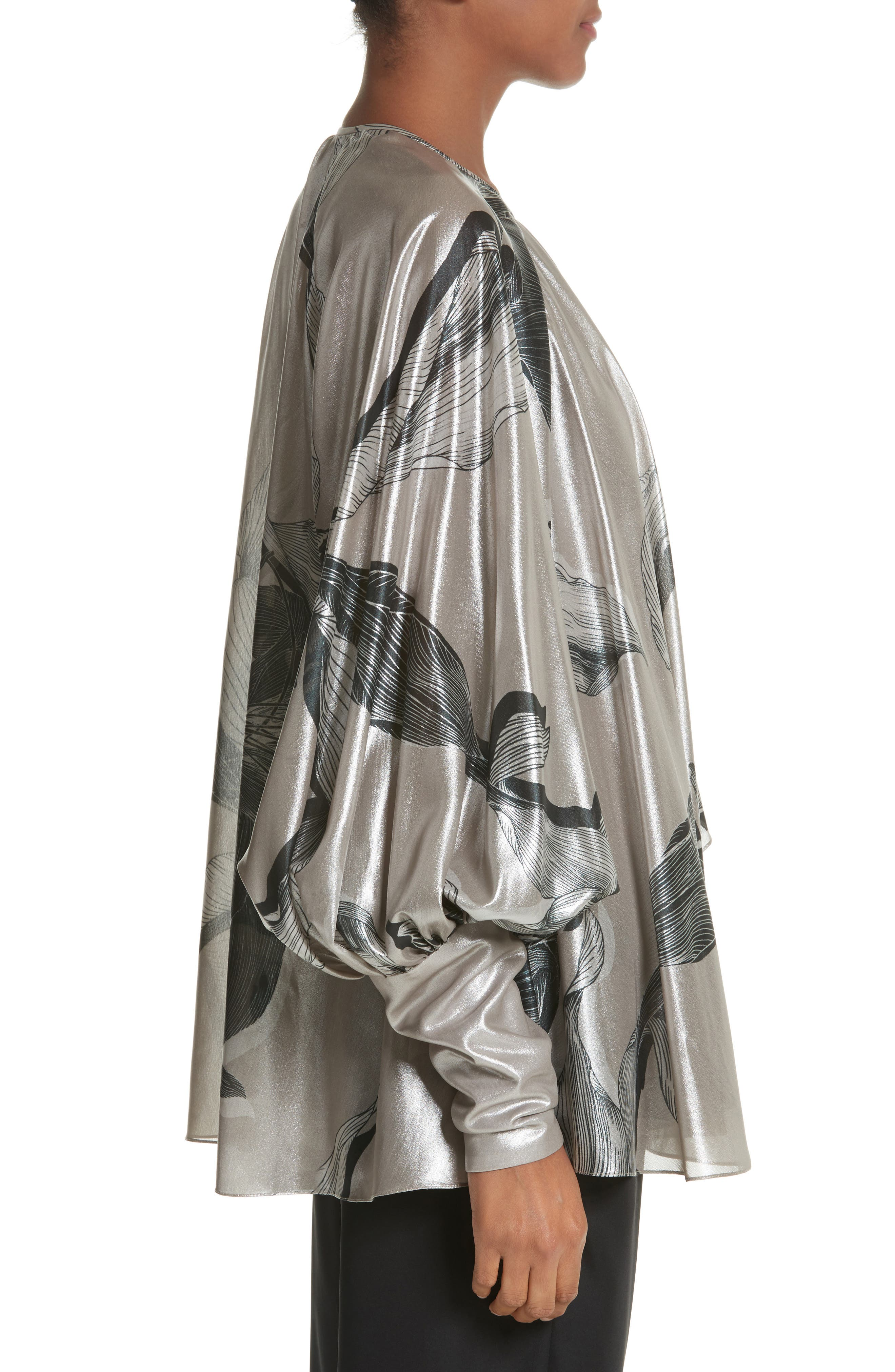 Iris Satin Silk Blend Drape Top,                             Alternate thumbnail 3, color,                             220