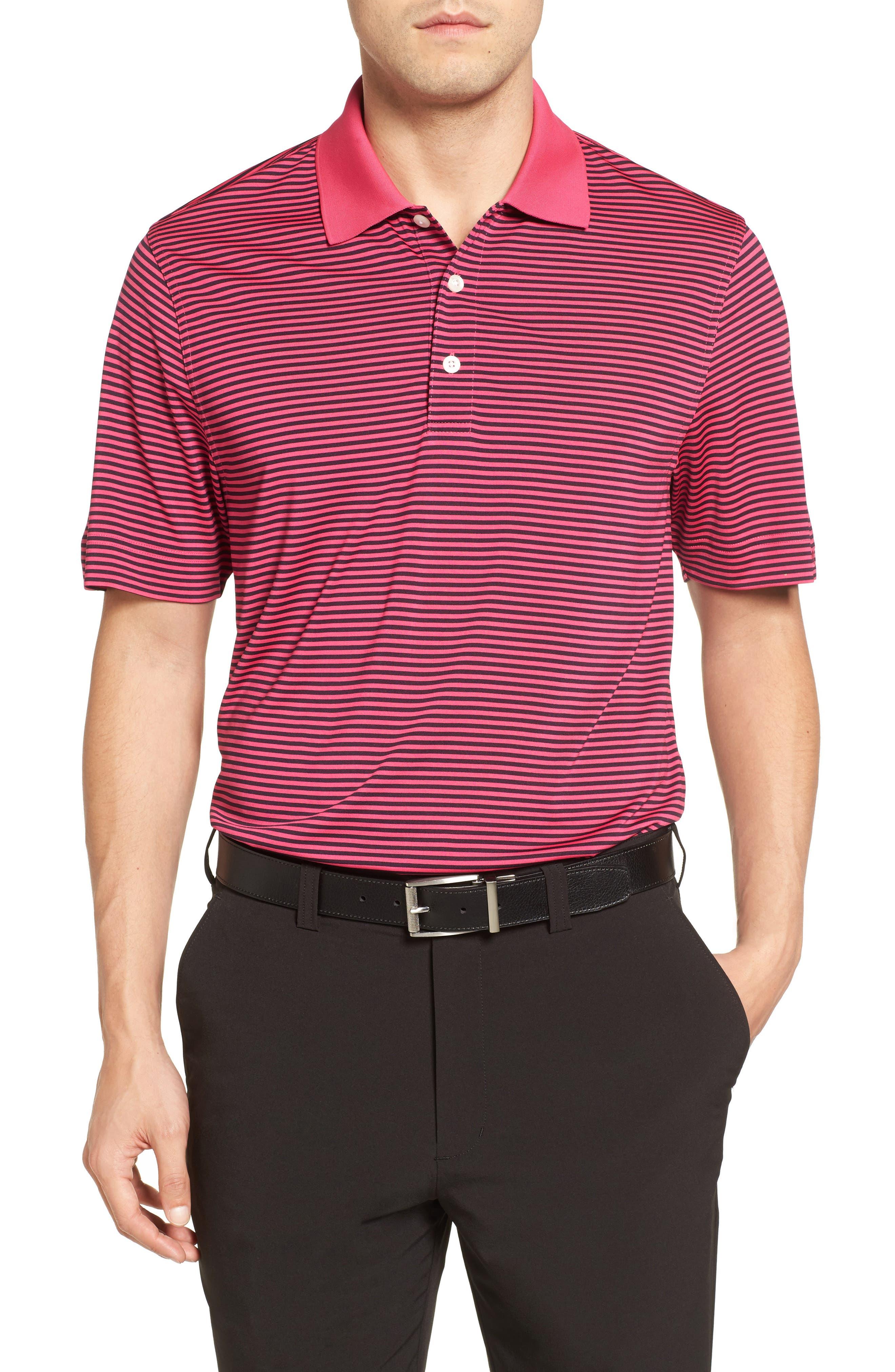 Cutter & Buck Trevor Stripe Drytec Polo, Pink