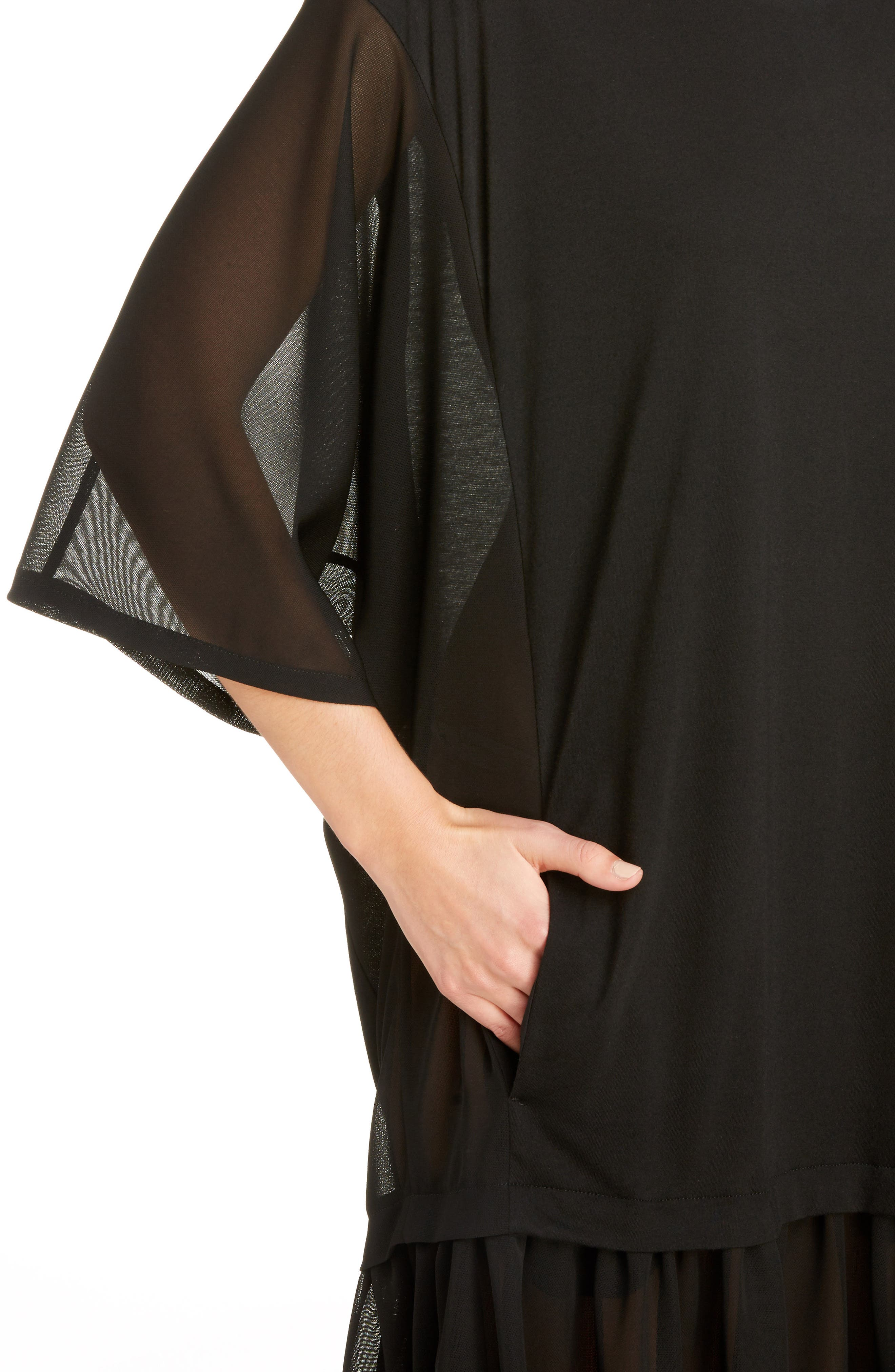 Sheer Hem T-Shirt Dress,                             Alternate thumbnail 4, color,                             001