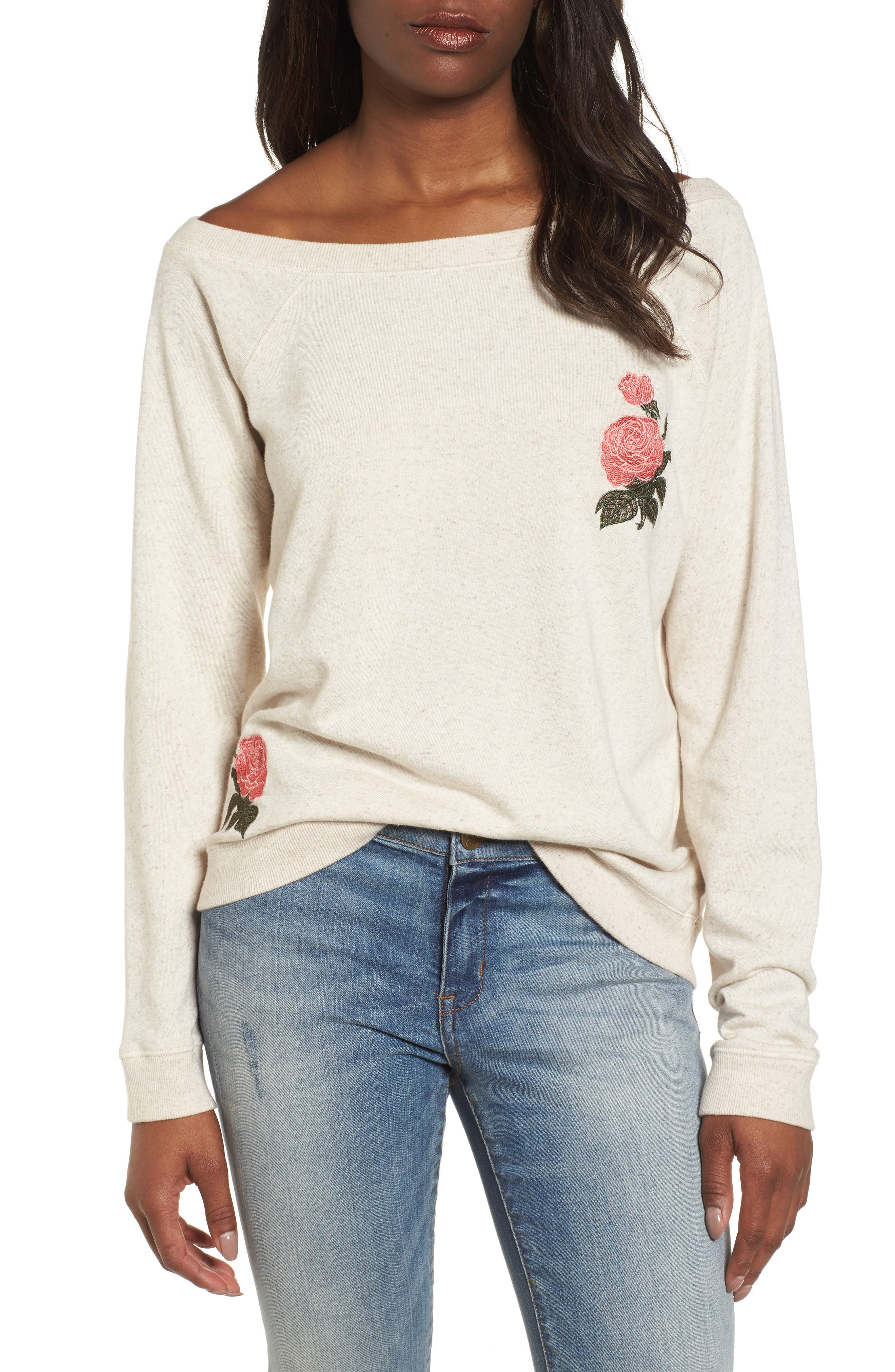 Embroidered Rose Sweatshirt,                         Main,                         color, 901