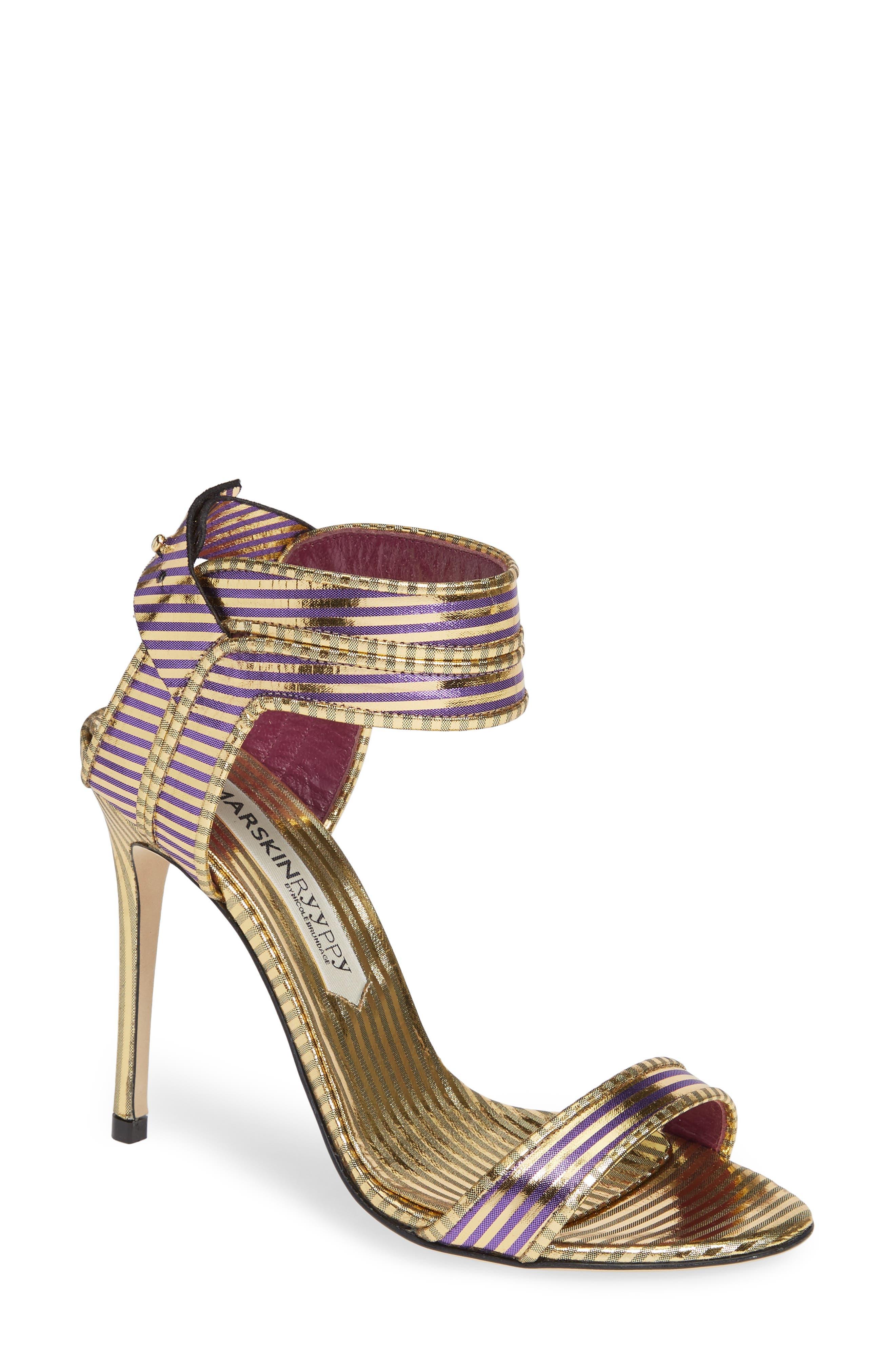 Wynona Stripe Sandal,                             Main thumbnail 1, color,                             GOLD PURPLE STRIPED