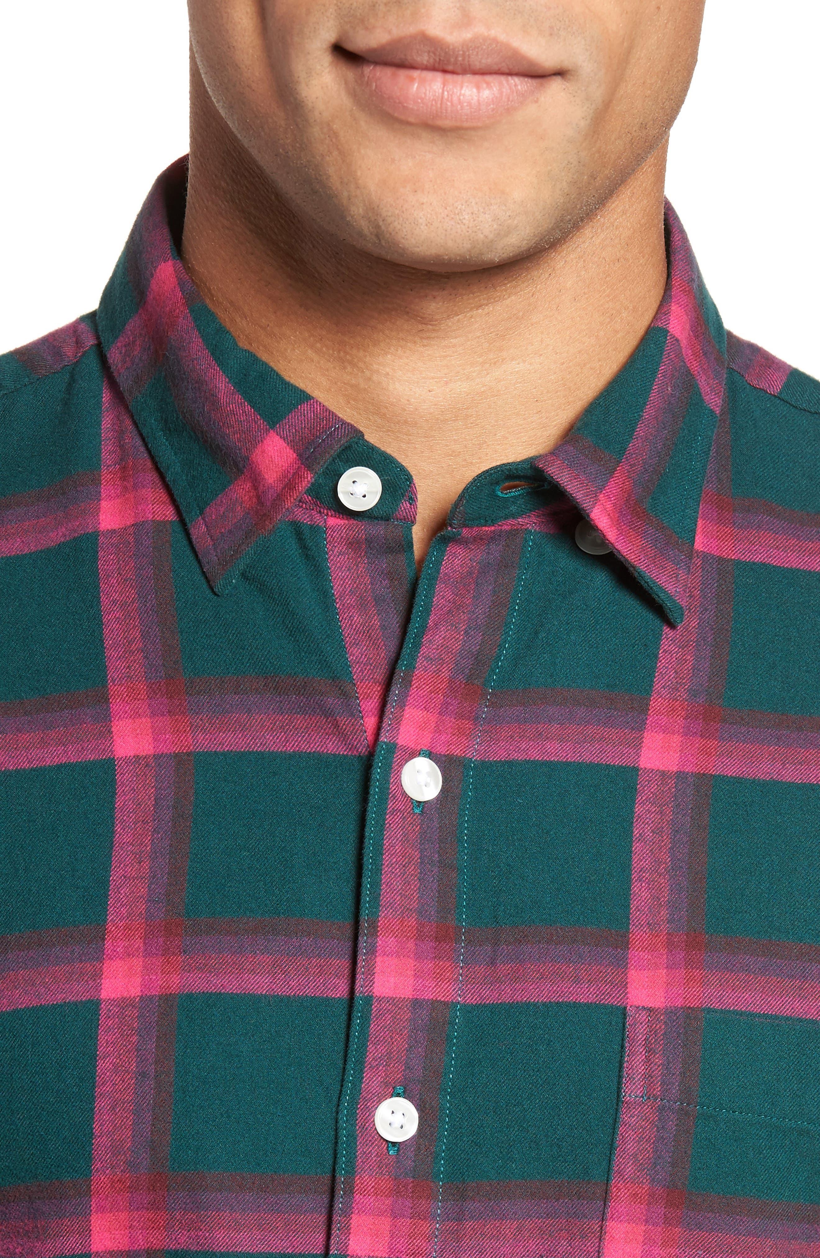 Slim Fit Brushed Windowpane Sport Shirt,                             Alternate thumbnail 4, color,