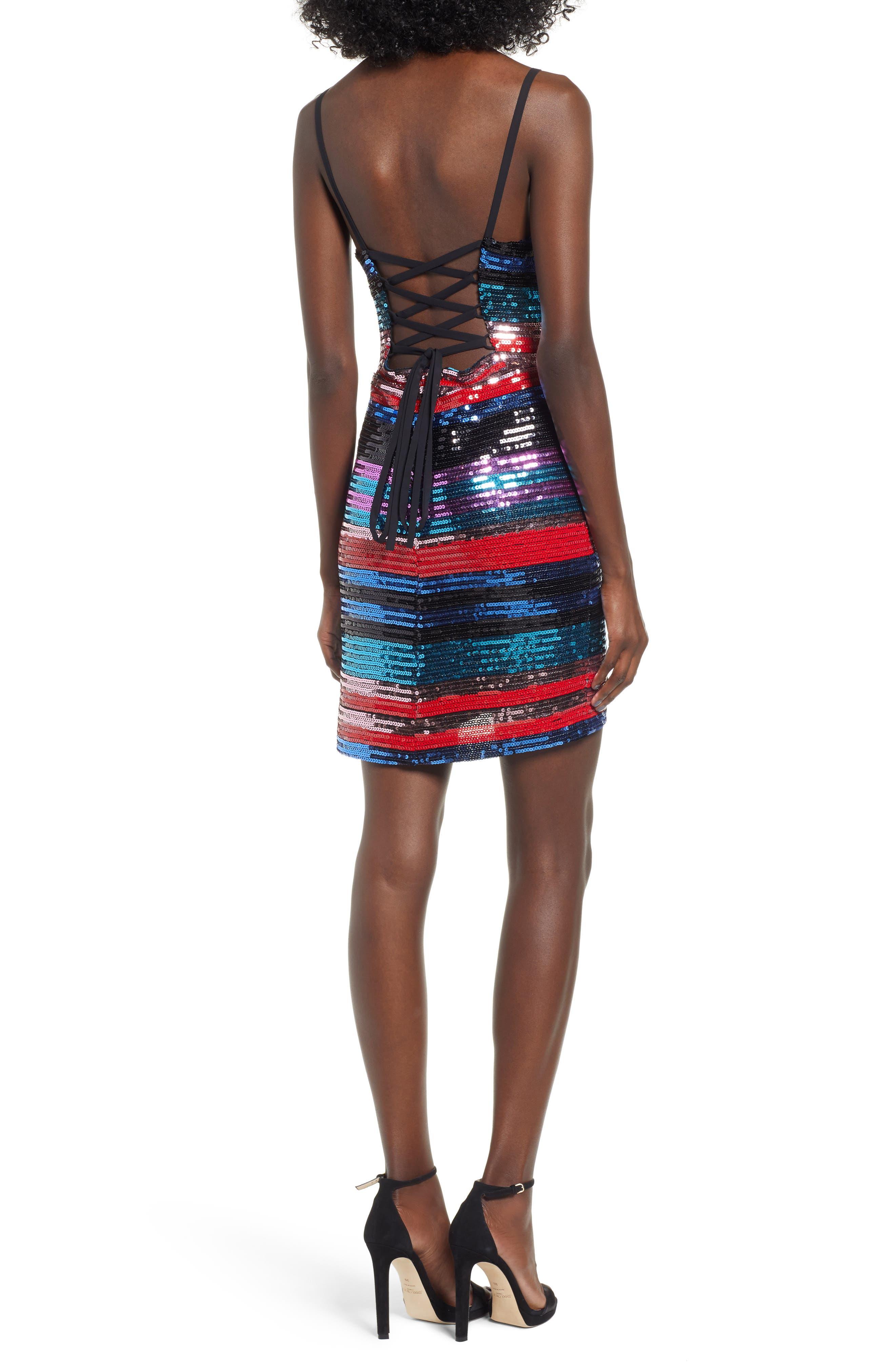 Manfi Lace-Up Back Sequin Stripe Minidress,                             Alternate thumbnail 2, color,                             RED SEQUIN STRIPE