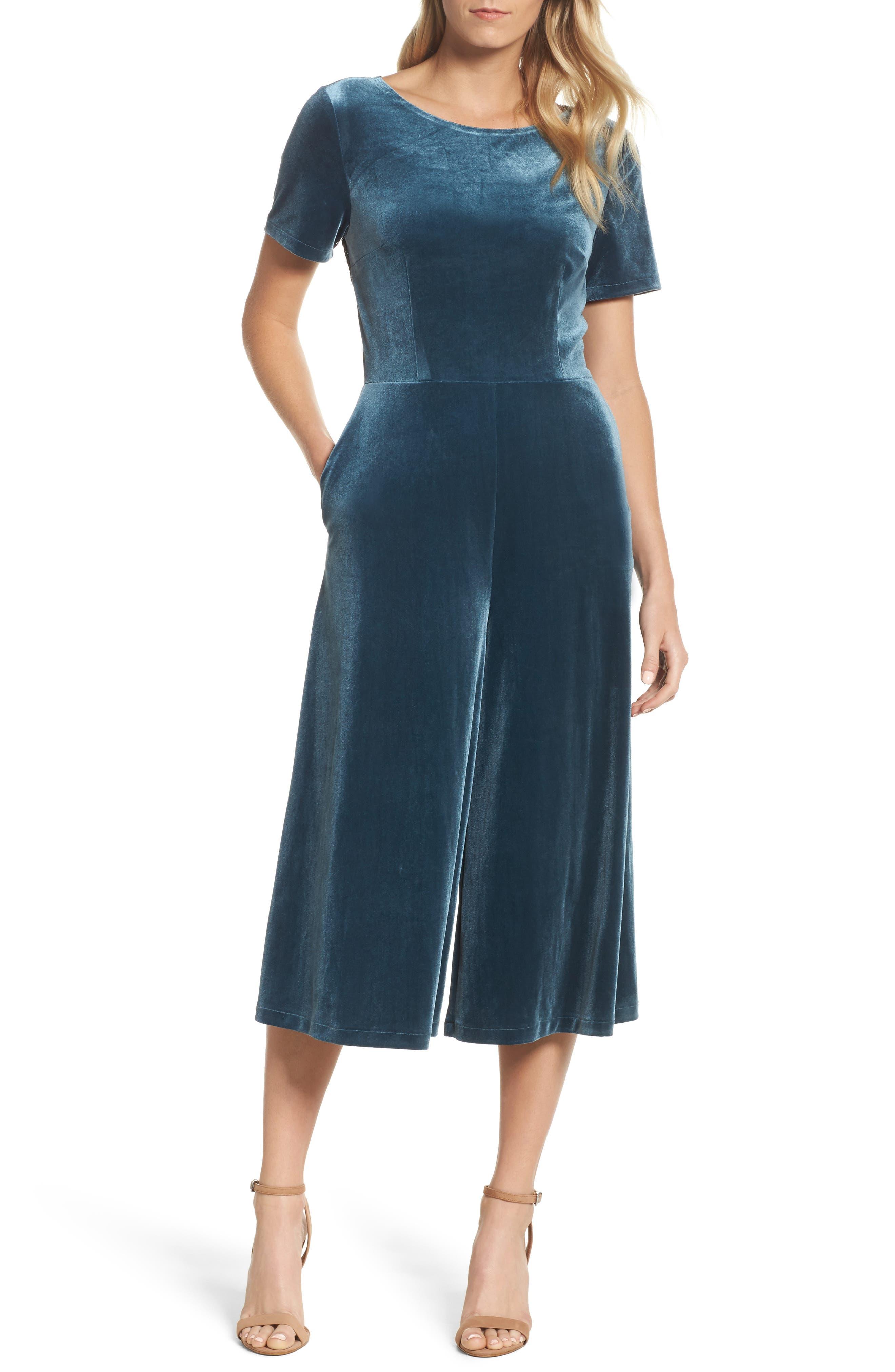 Aurore Velvet Culotte Jumpsuit,                             Main thumbnail 2, color,