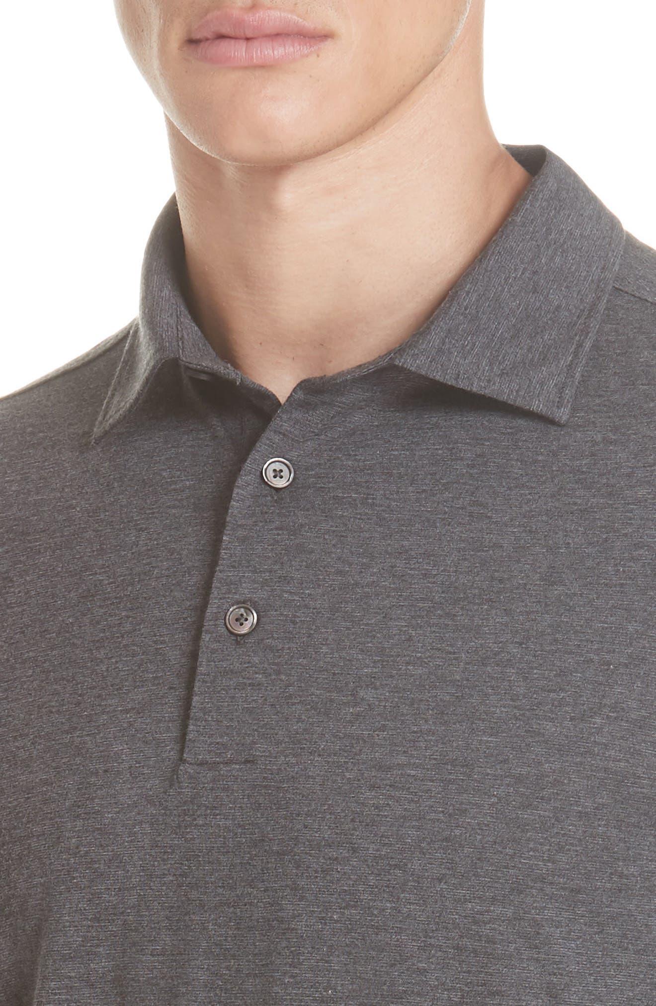 Wool & Cotton Long Sleeve Polo Shirt,                             Alternate thumbnail 4, color,                             CHARCOAL