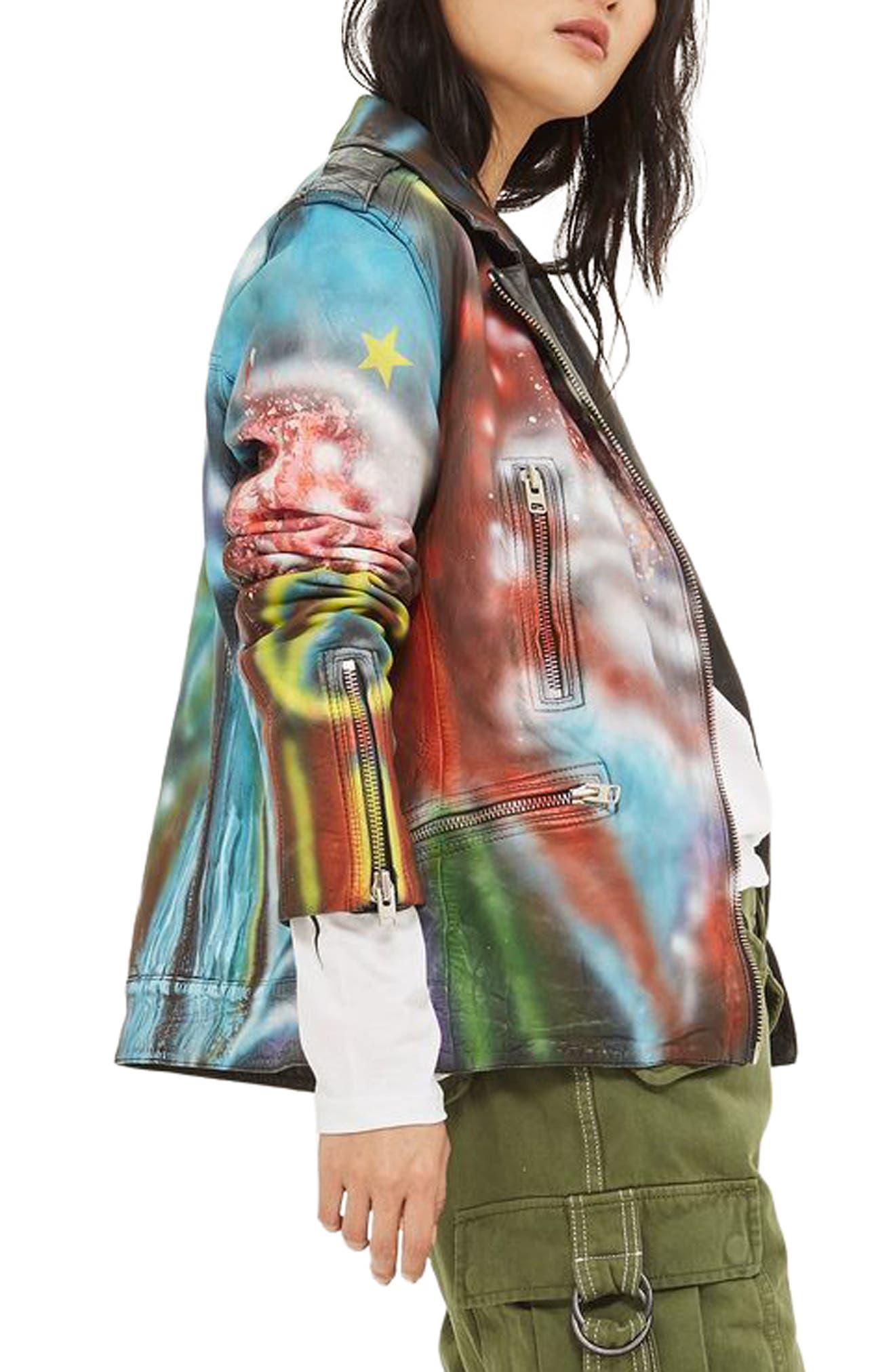 Aries Graffiti Leather Jacket,                             Alternate thumbnail 3, color,                             001