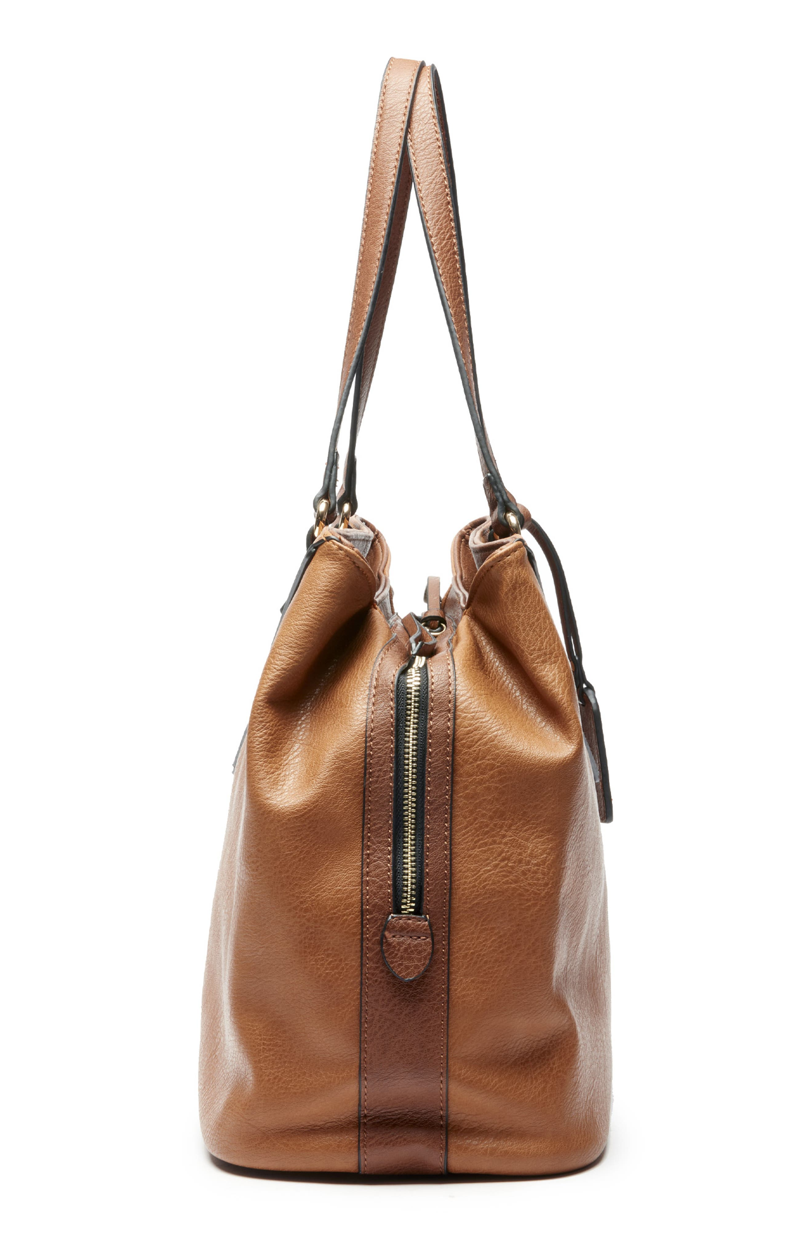 Ginny Faux Leather Tote,                             Alternate thumbnail 4, color,                             BROWN COMBO
