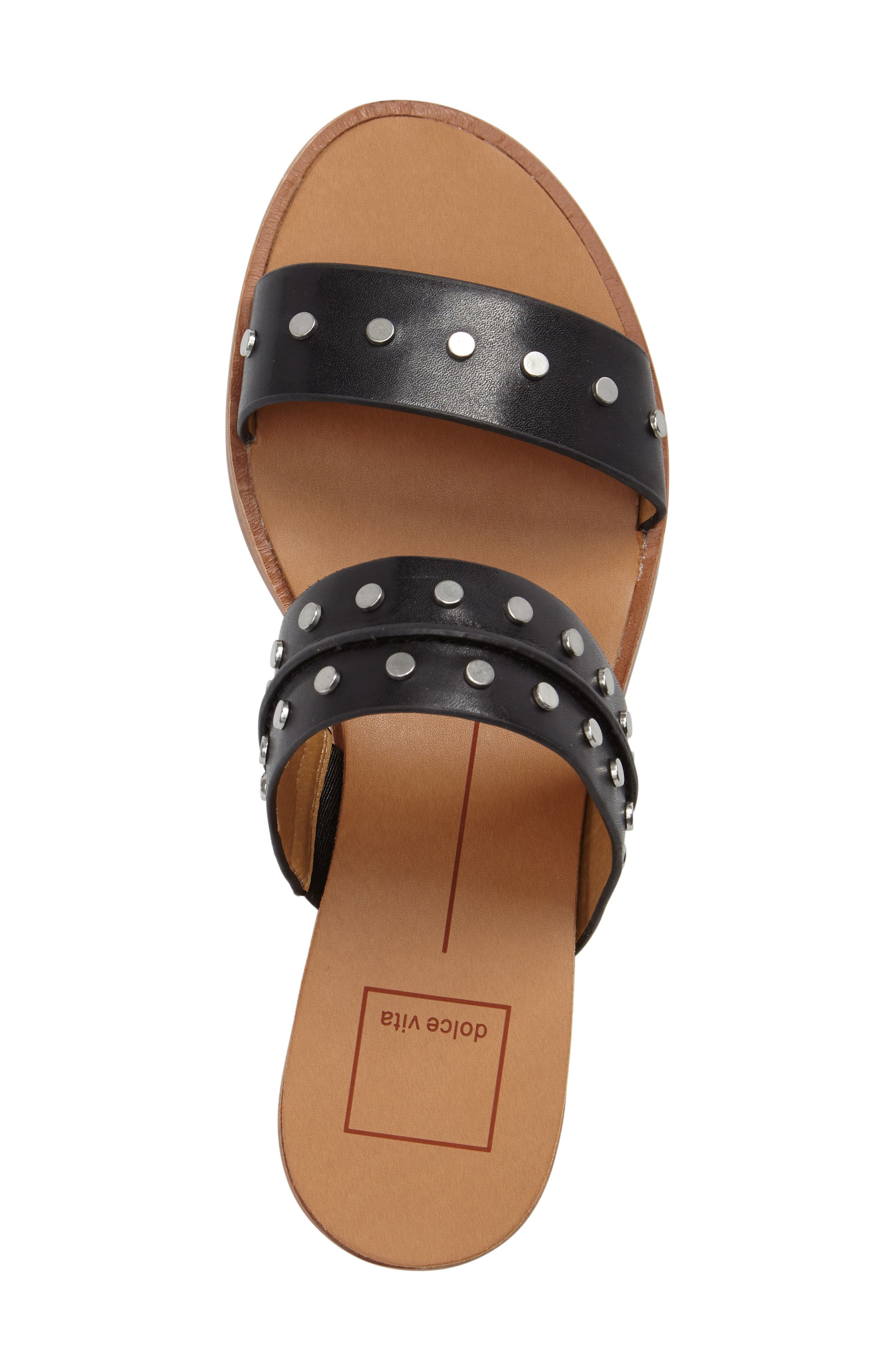 Pacey Studded Wedge Sandal,                             Alternate thumbnail 5, color,                             001