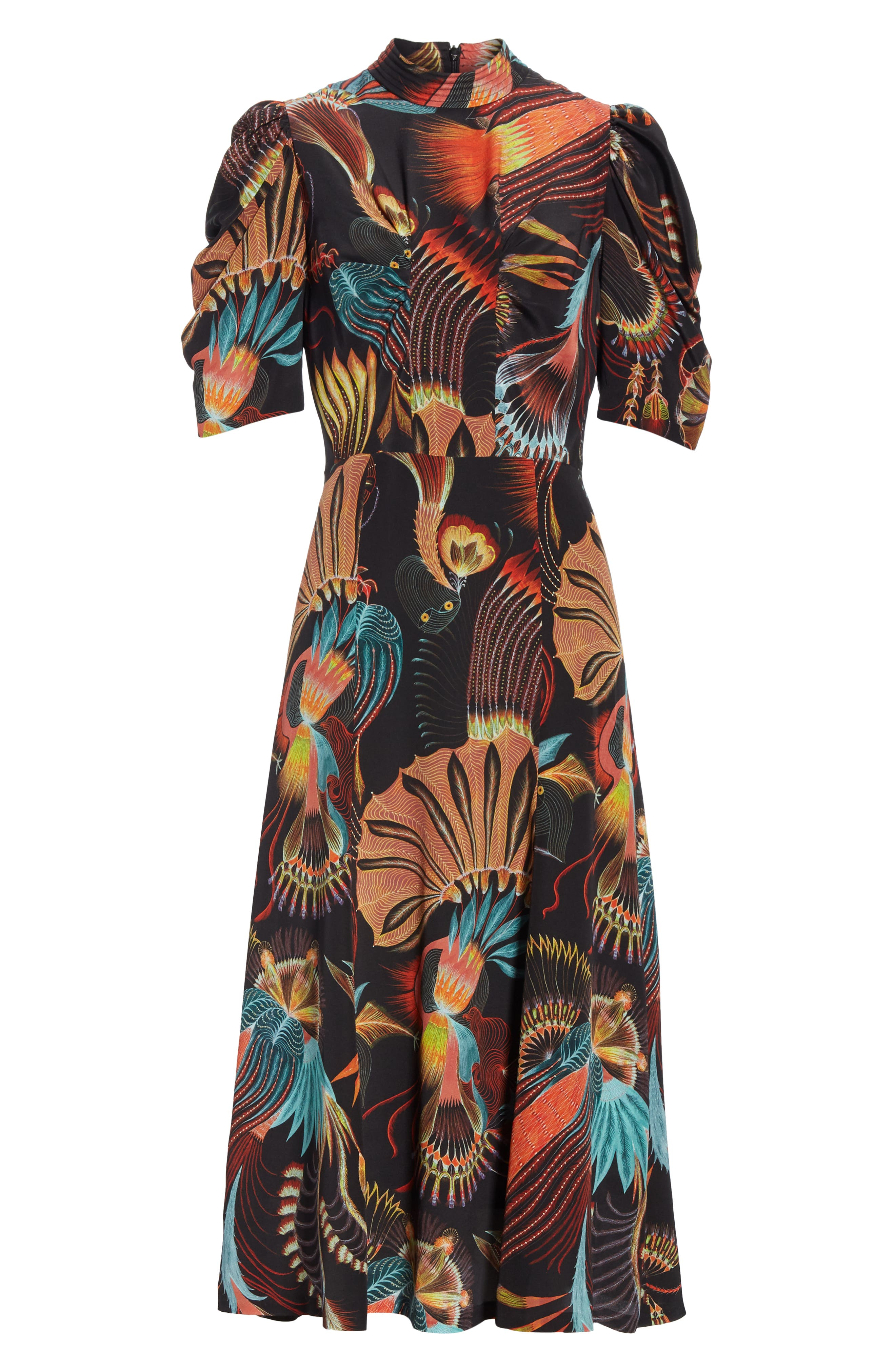 Tattoo Floral Print Silk Dress,                             Alternate thumbnail 6, color,                             BLACK