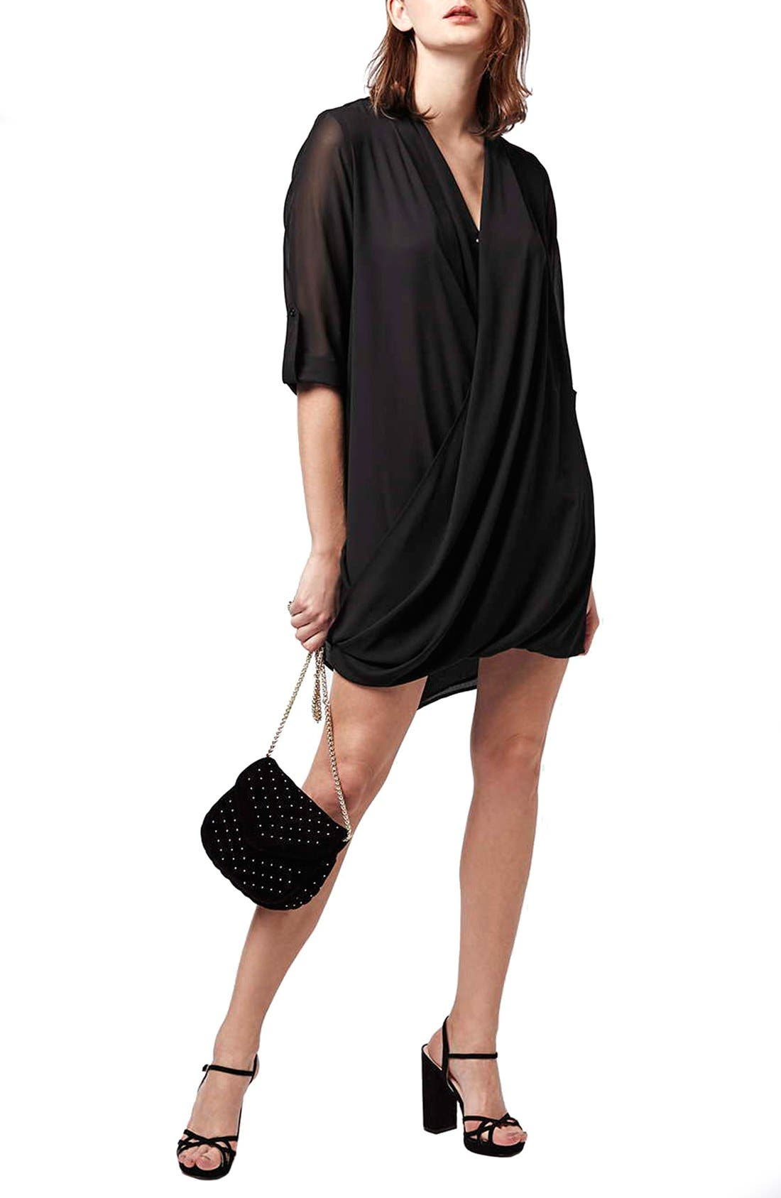 Chiffon Drape Tunic Dress,                         Main,                         color, 001