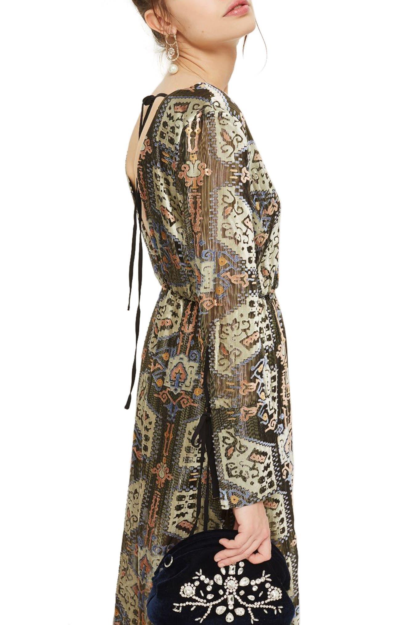 Devore Plunge Neck Dress,                             Alternate thumbnail 3, color,                             310