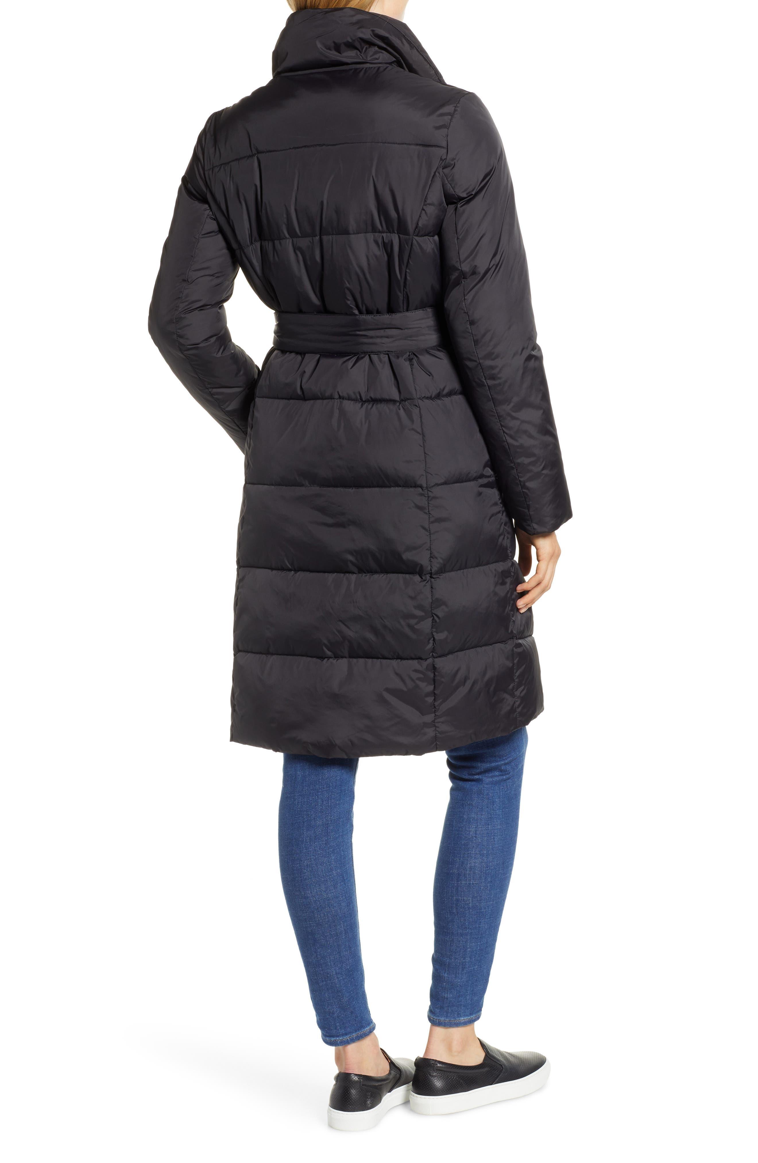 Long Puffer Coat,                             Alternate thumbnail 2, color,                             BLACK