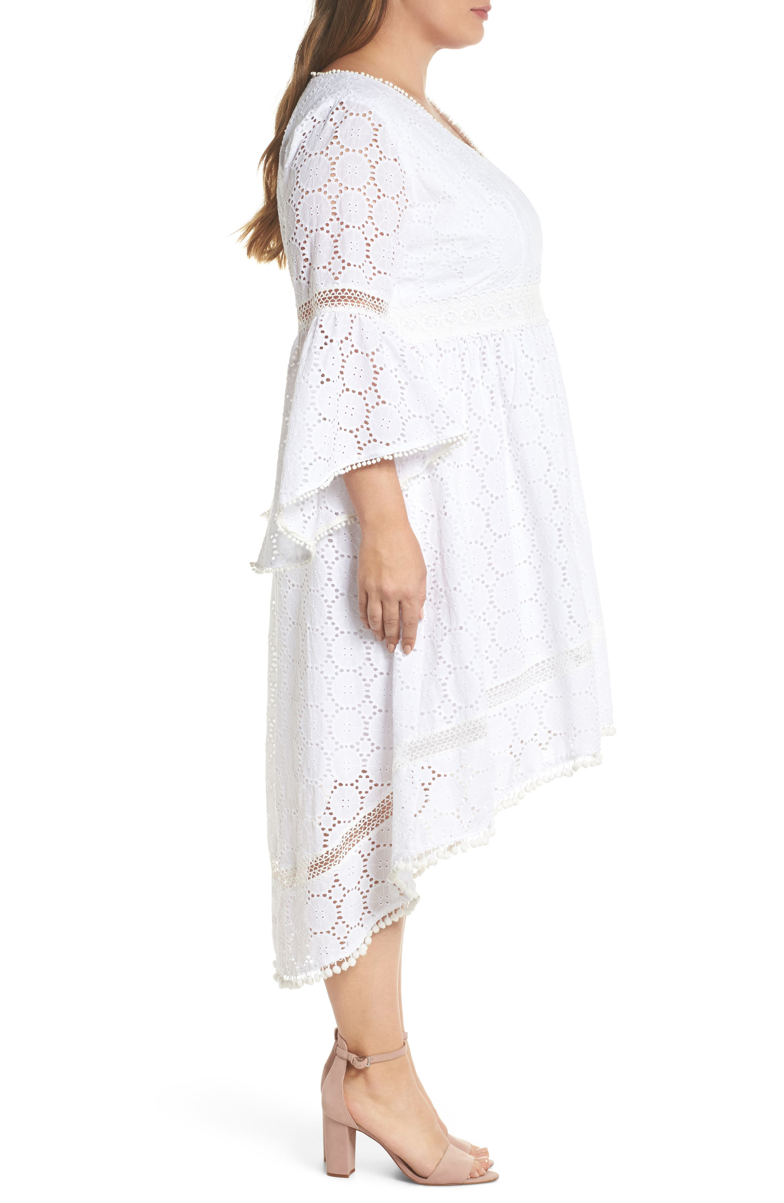 Bell Sleeve High/Low Eyelet Dress,                             Alternate thumbnail 3, color,                             902