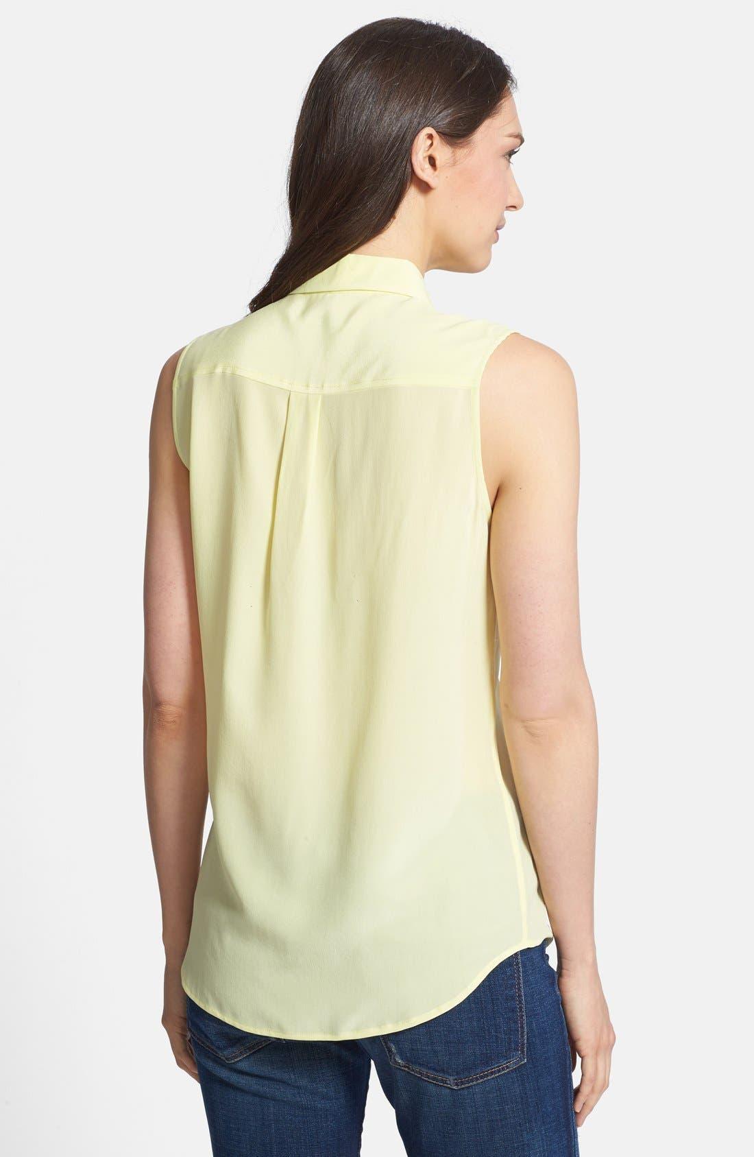 'Slim Signature' Sleeveless Silk Shirt,                             Alternate thumbnail 139, color,