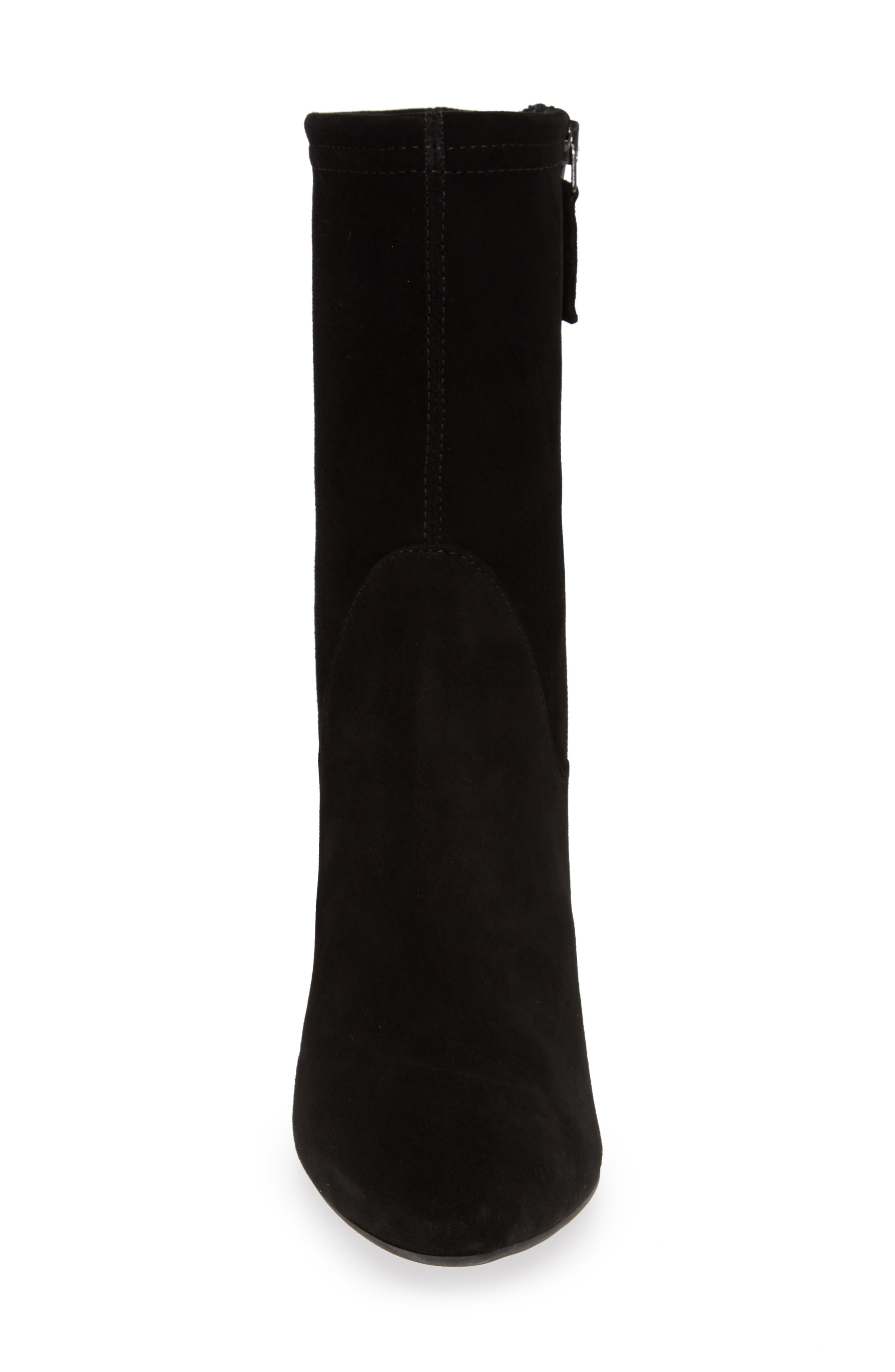 Nastasia Stretch Suede Boot,                             Alternate thumbnail 4, color,                             BLACK SUEDE