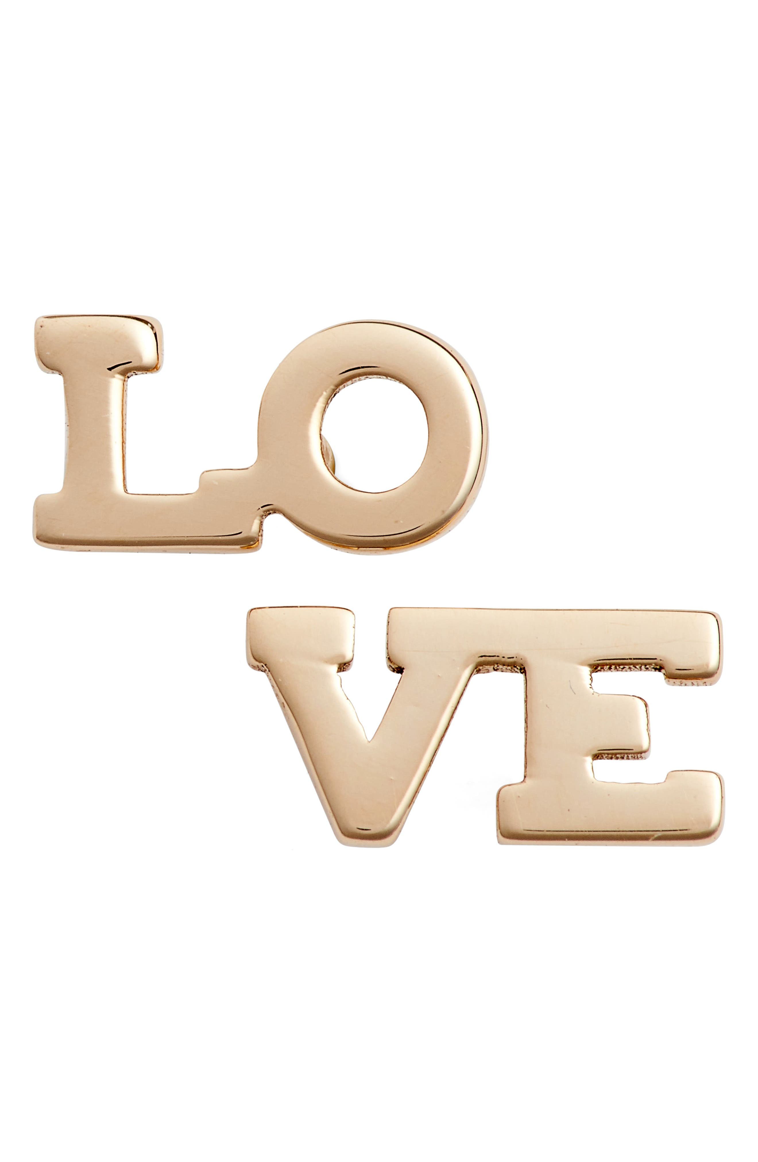 Love Stud Earrings,                         Main,                         color, YELLOW GOLD