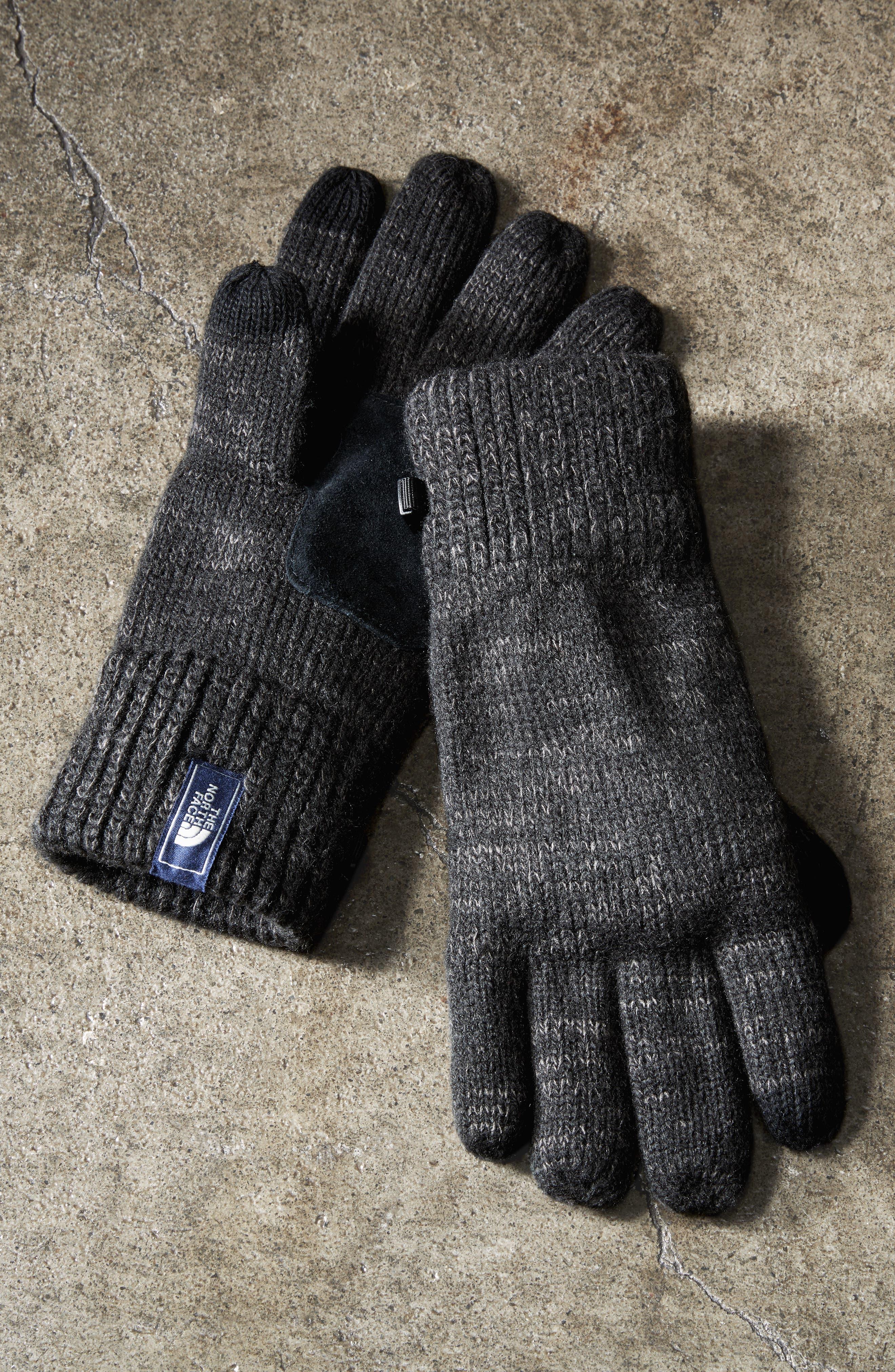 Etip Salty Dog Knit Tech Gloves,                             Alternate thumbnail 5, color,                             TNF BLACK