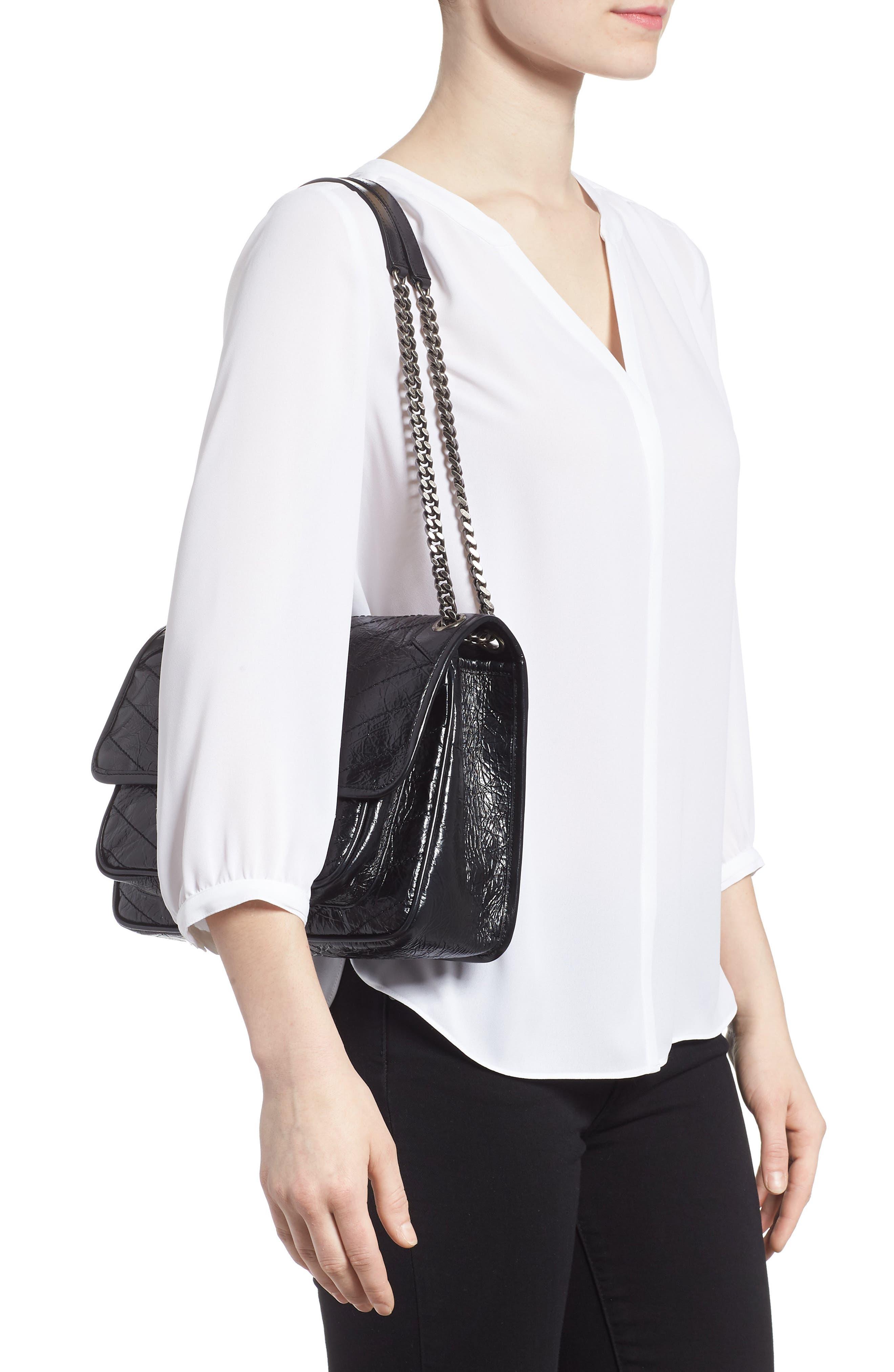 Medium Niki Leather Shoulder Bag,                             Alternate thumbnail 2, color,                             BLACK