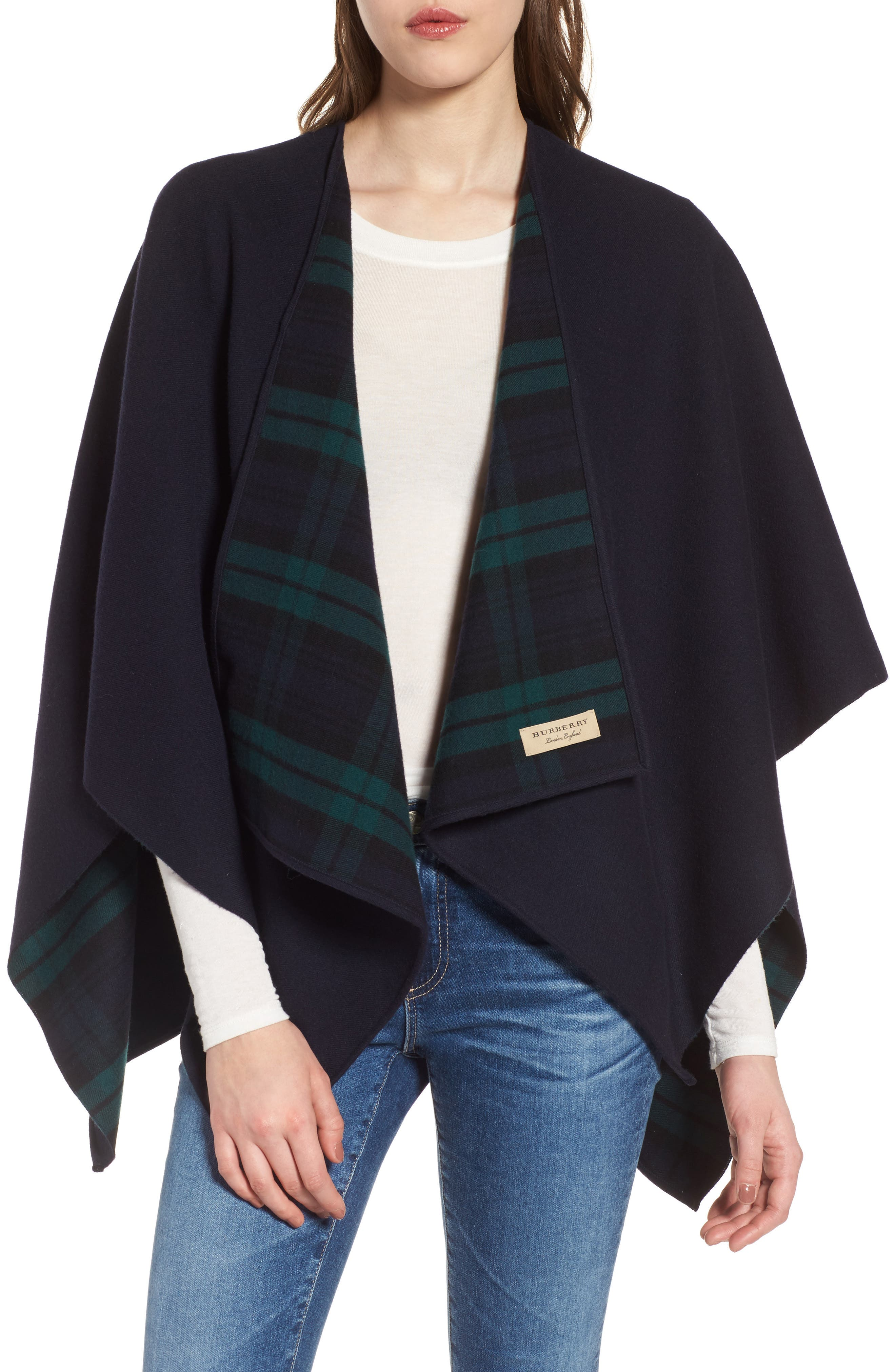 Crop Reversible Merino Wool Cape,                             Main thumbnail 2, color,