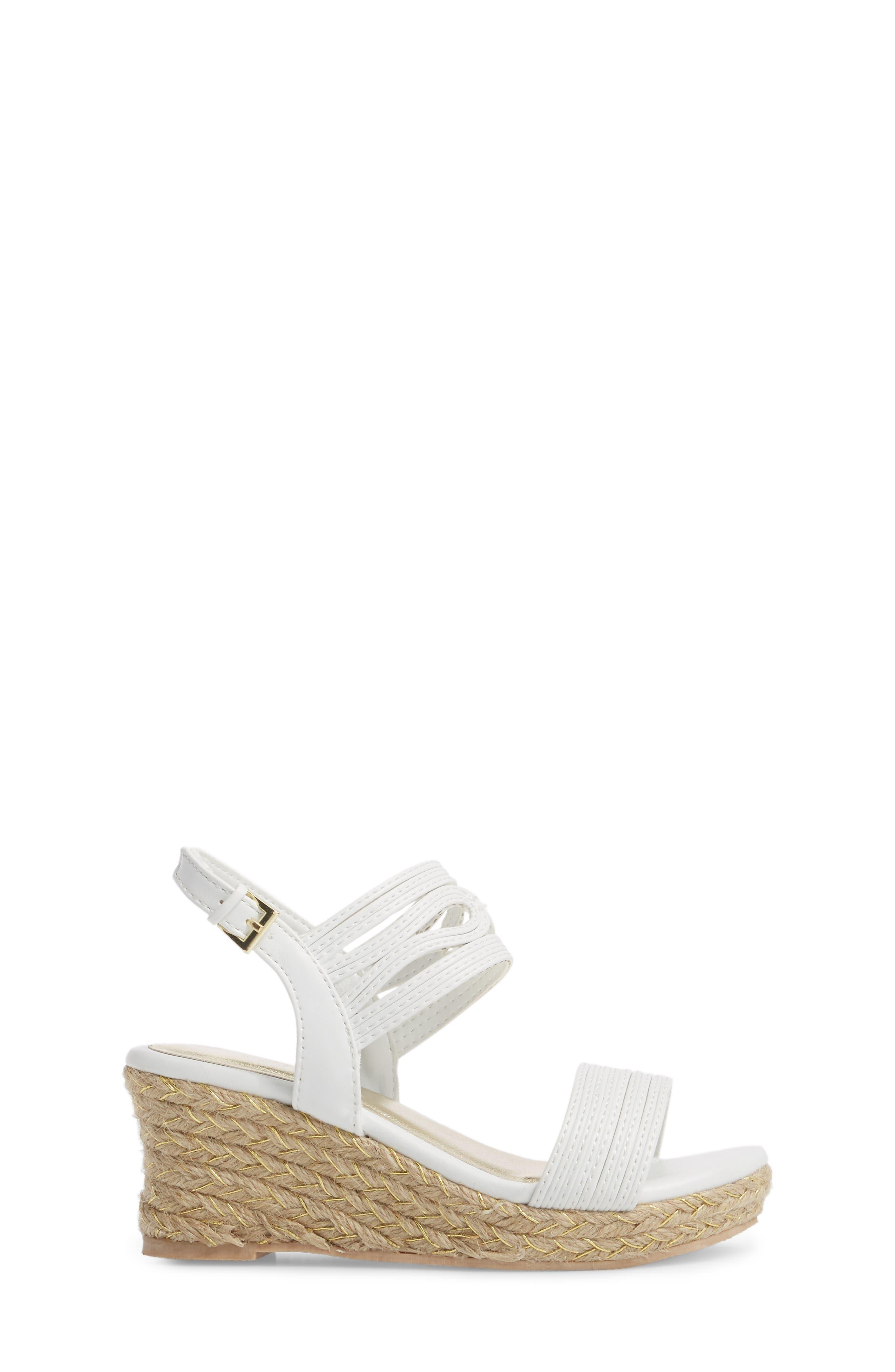 Reed Day Wedge Sandal,                             Alternate thumbnail 3, color,                             WHITE