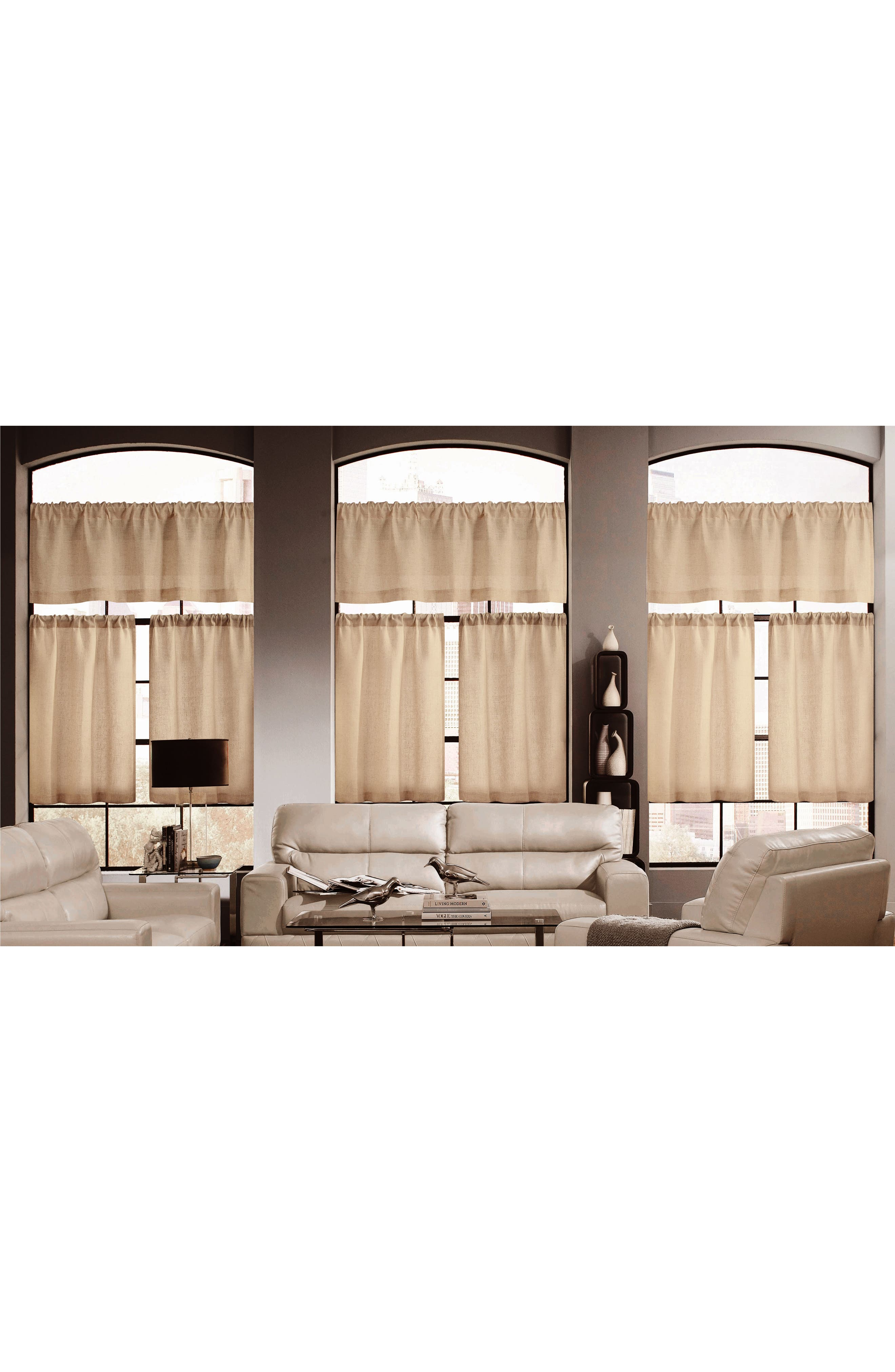 Katness Set of 3 Tiered Small Pole Top Window Panels,                         Main,                         color, 250