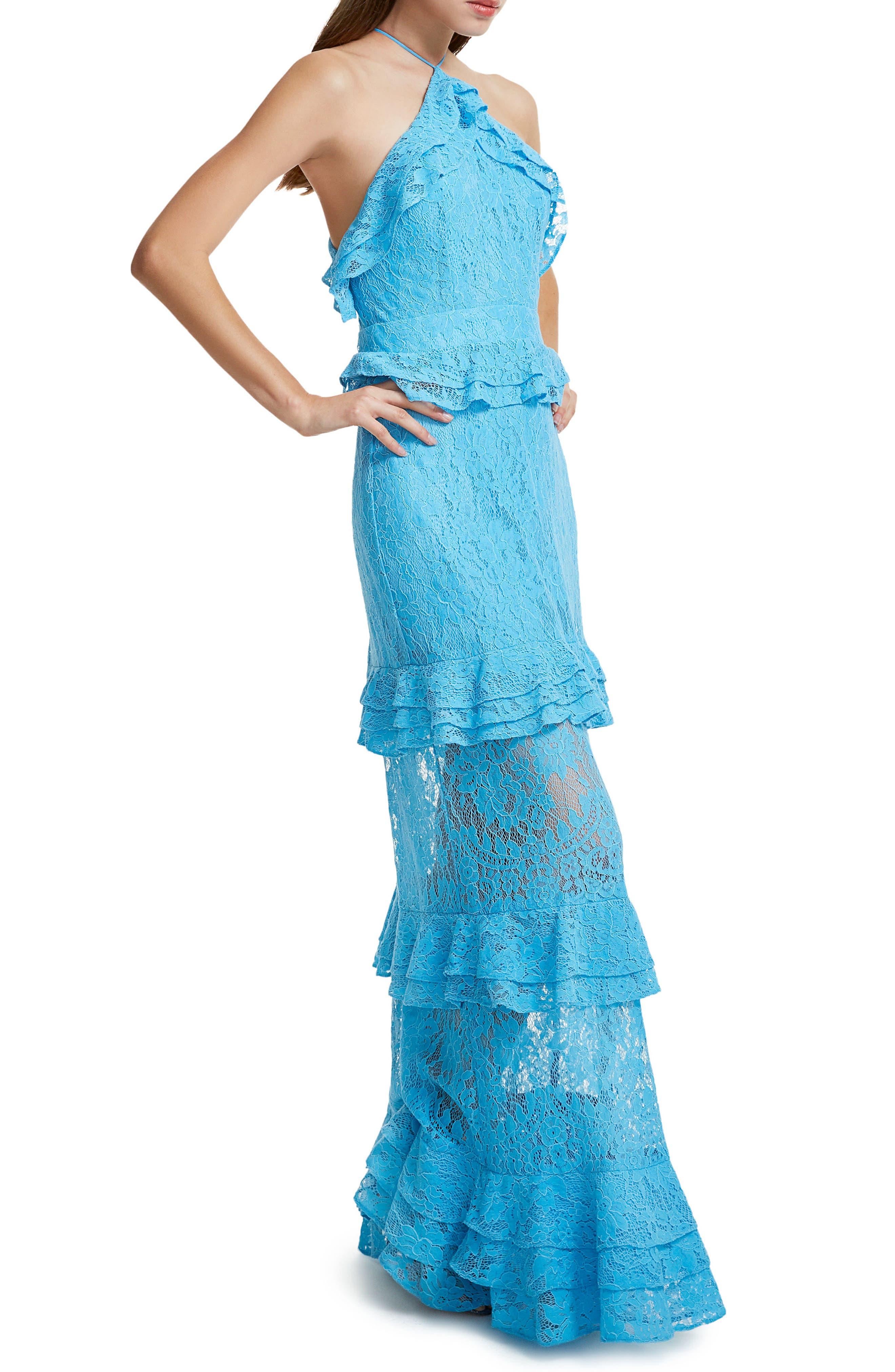 Violet Ruffle Maxi Dress,                             Alternate thumbnail 6, color,