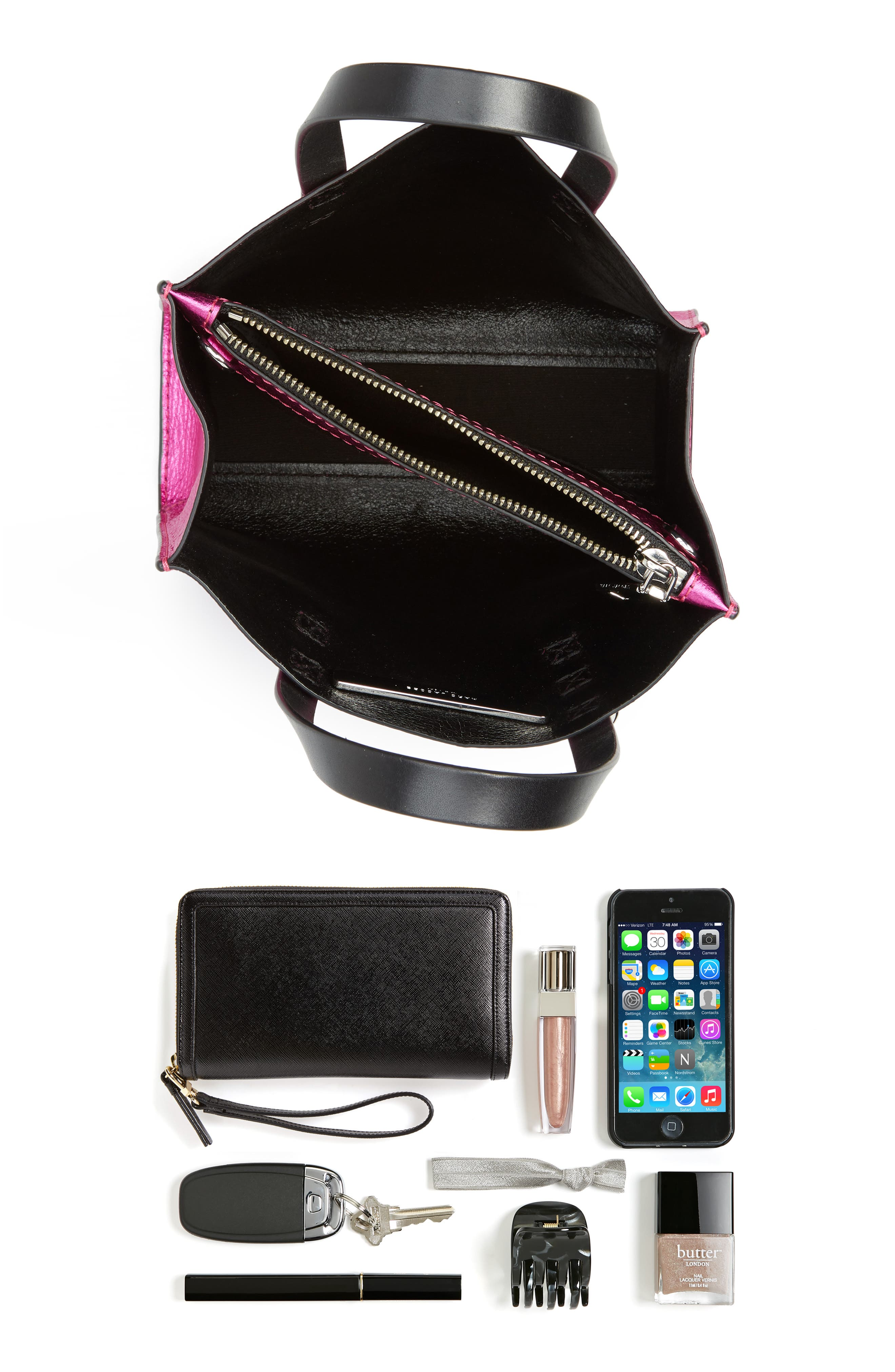 Mini The Grind Metallic Leather Tote,                             Alternate thumbnail 7, color,                             PUNCH PINK