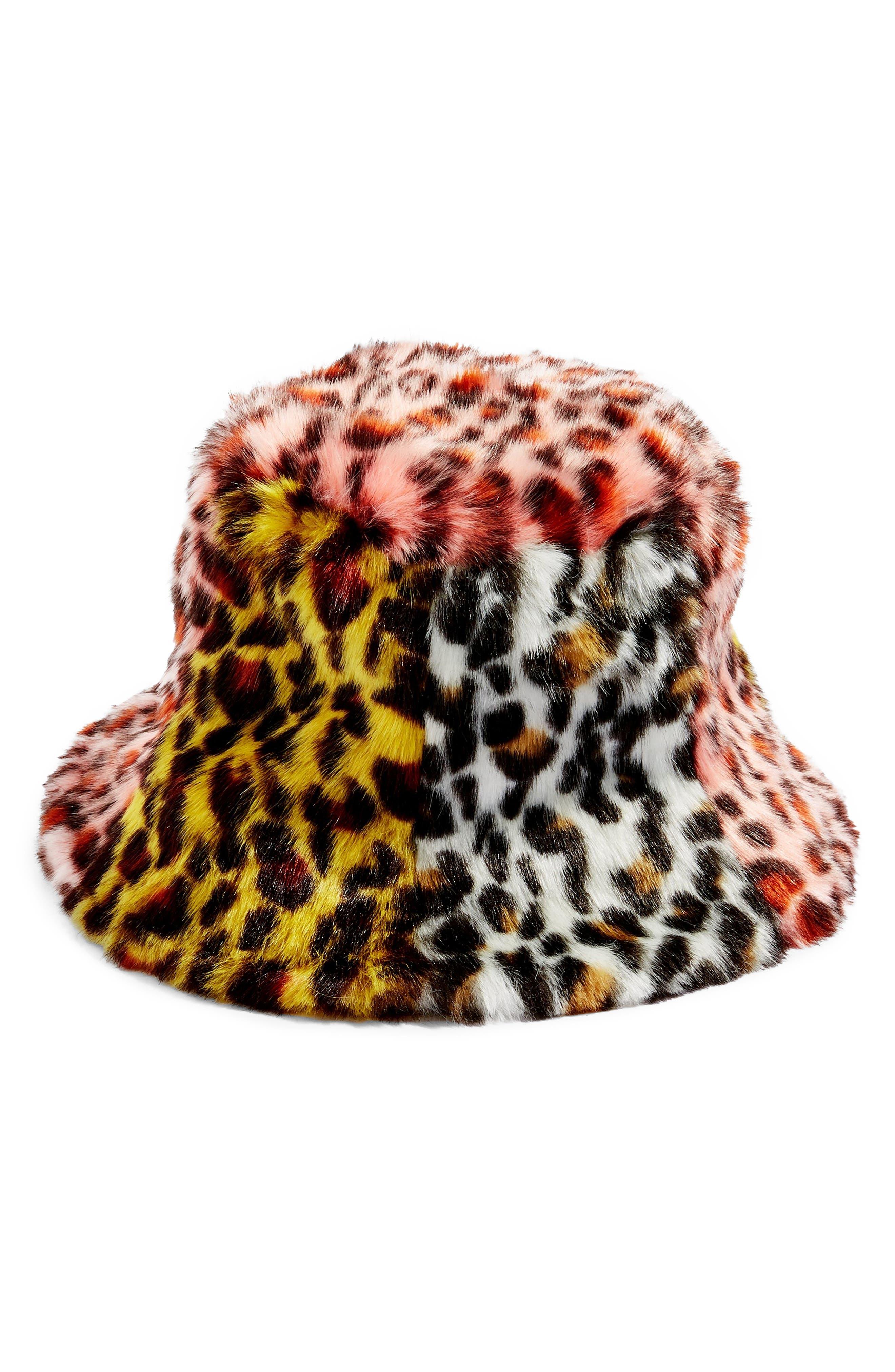 Mixed Animal Print Faux Fur Bucket Hat,                             Main thumbnail 1, color,                             BLACK MULTI