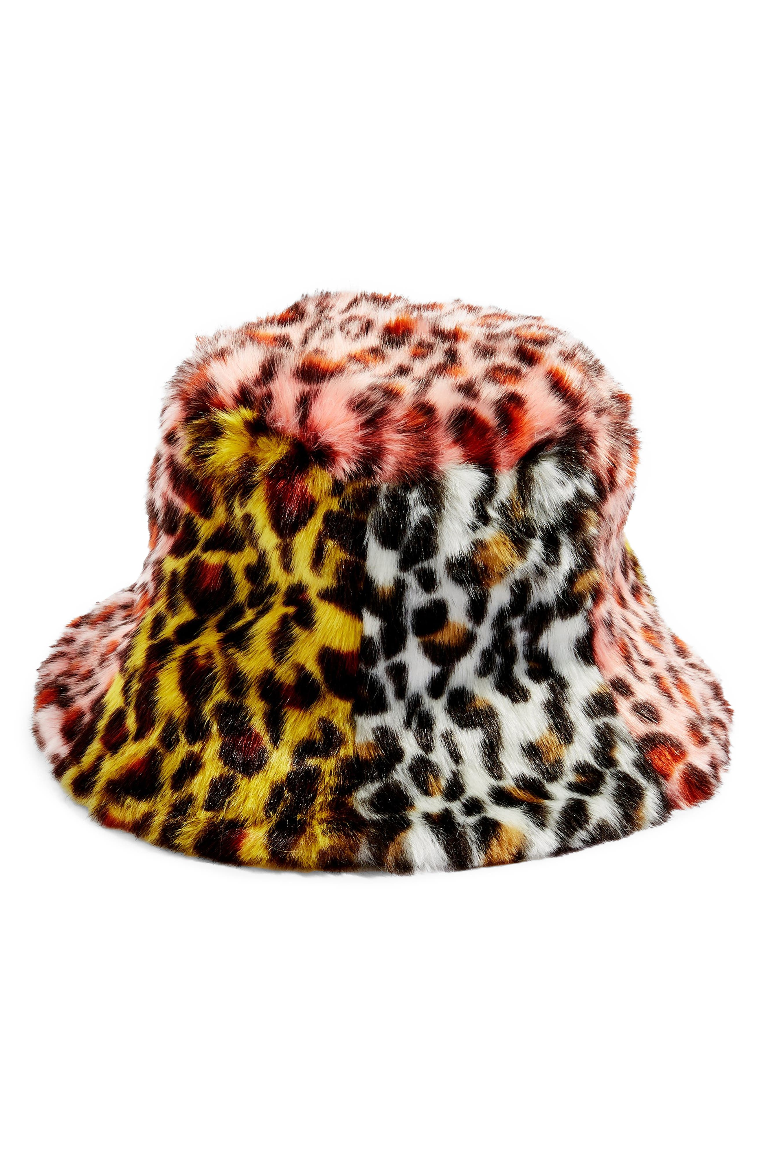 Mixed Animal Print Faux Fur Bucket Hat,                         Main,                         color, BLACK MULTI