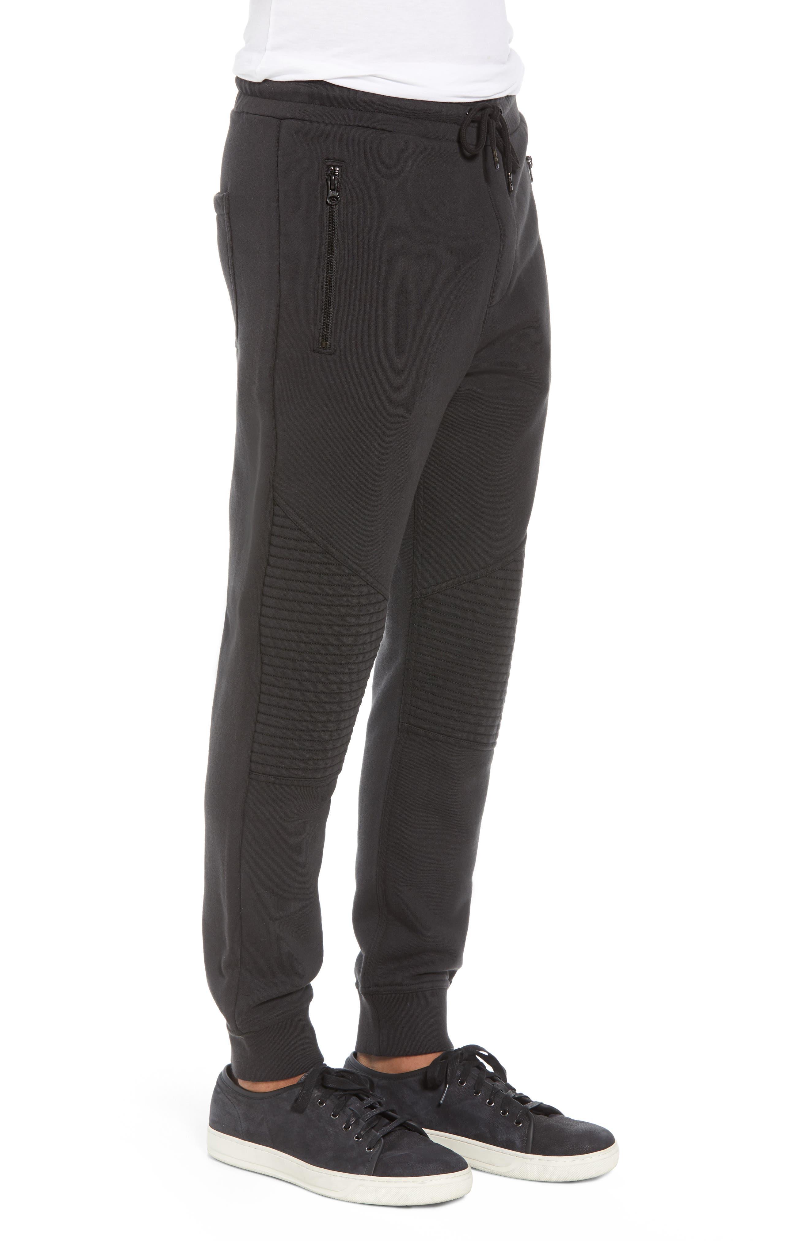 Hudson Blinder Slim Fit Moto Sweatpants,                             Alternate thumbnail 3, color,                             BLACK