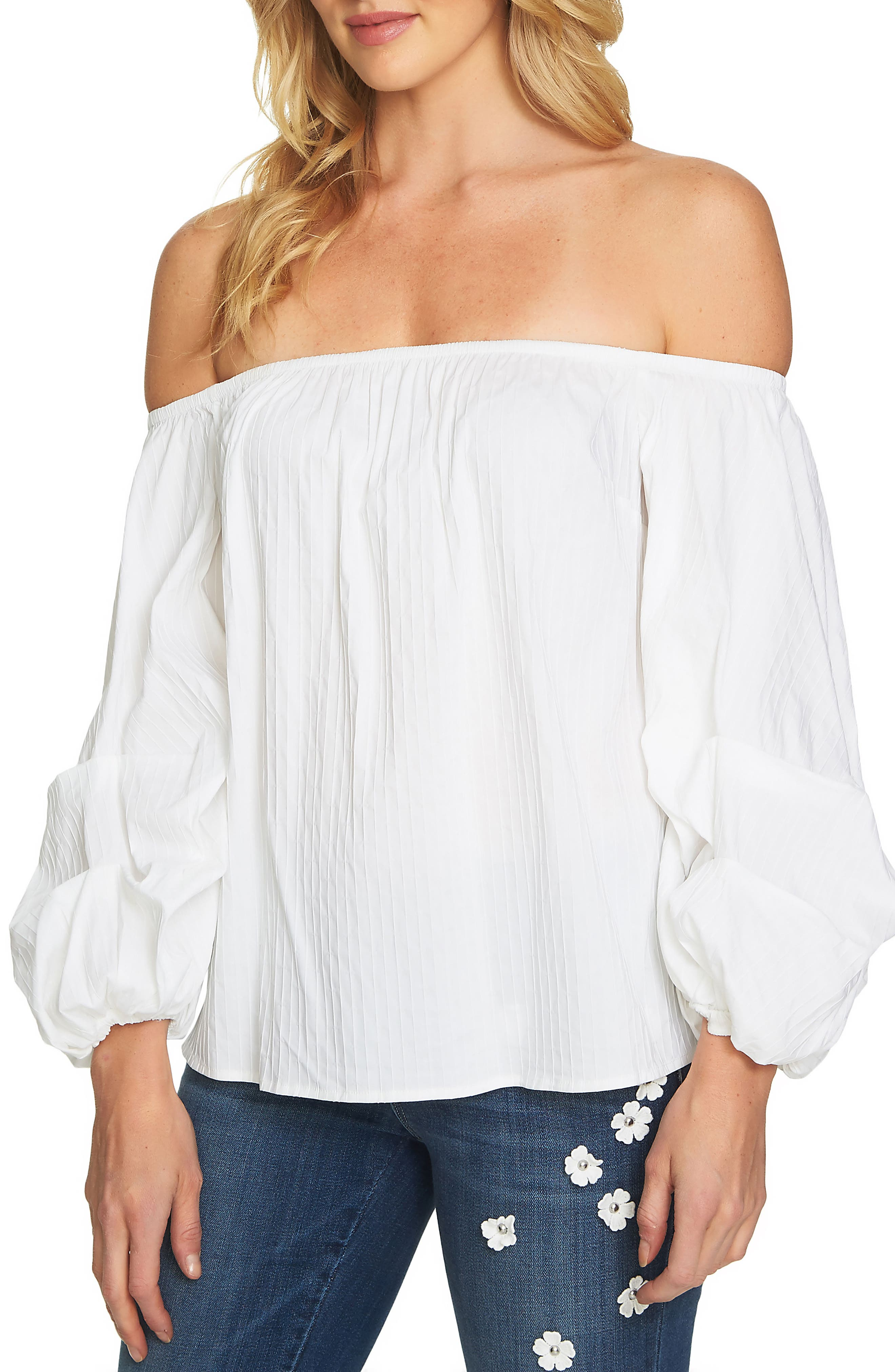 Off the Shoulder Balloon Sleeve Top,                         Main,                         color,