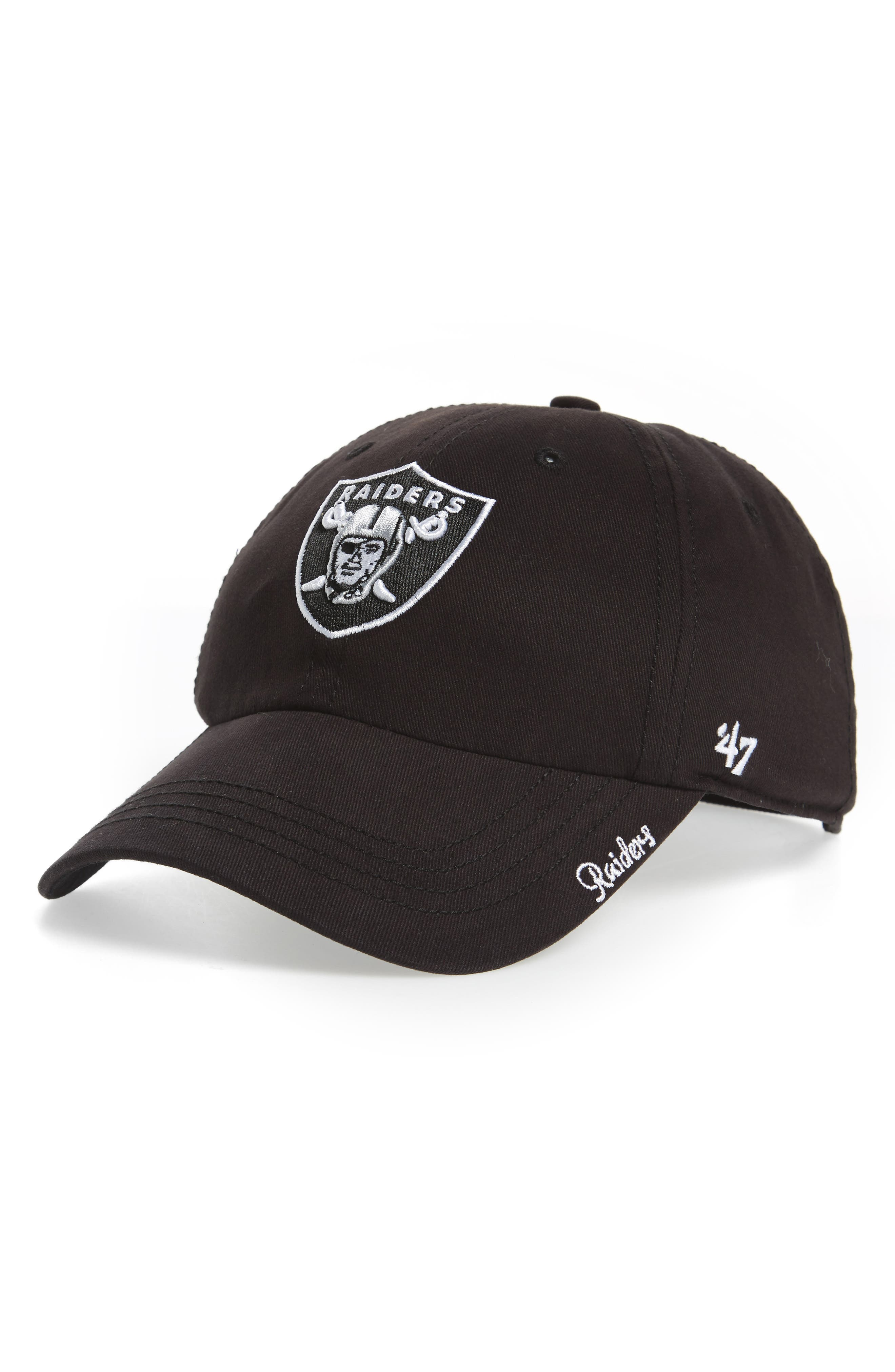 Miata Clean Up Oakland Raiders Ball Cap,                             Main thumbnail 1, color,                             001