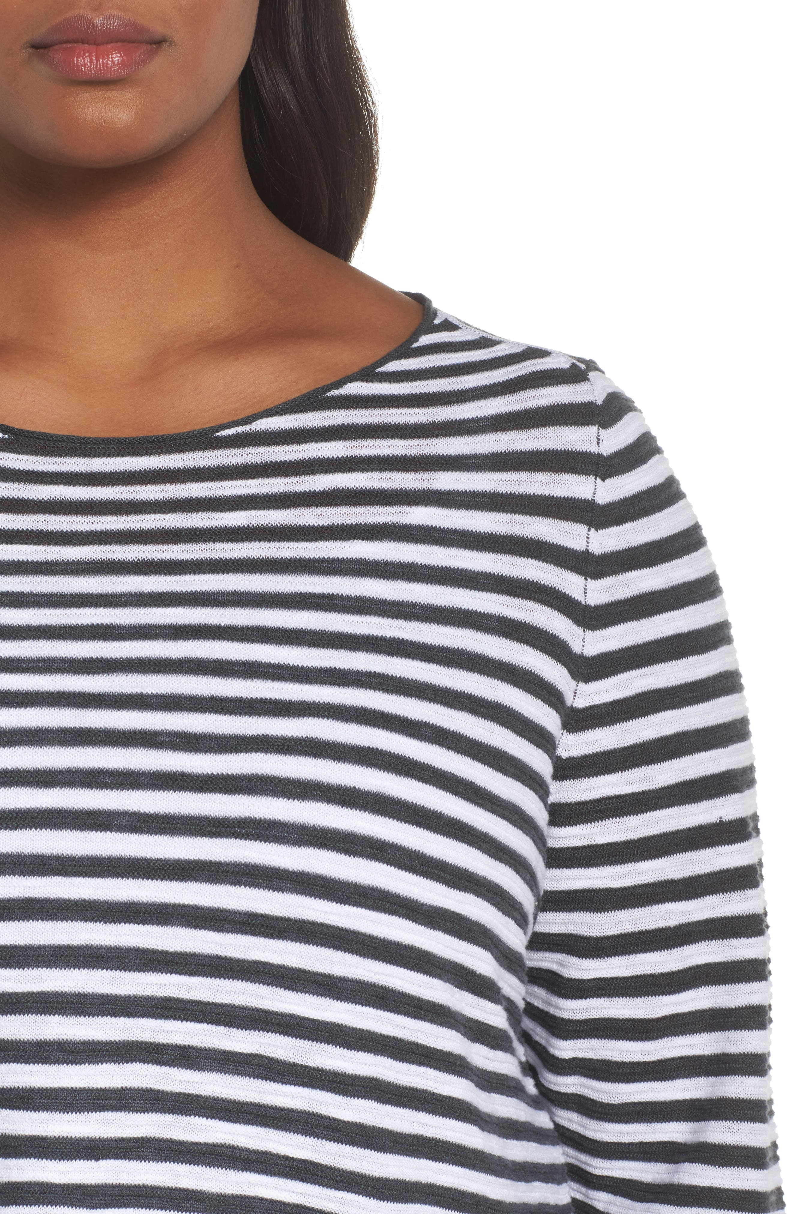 Stripe Organic Linen & Cotton Sweater,                             Alternate thumbnail 4, color,