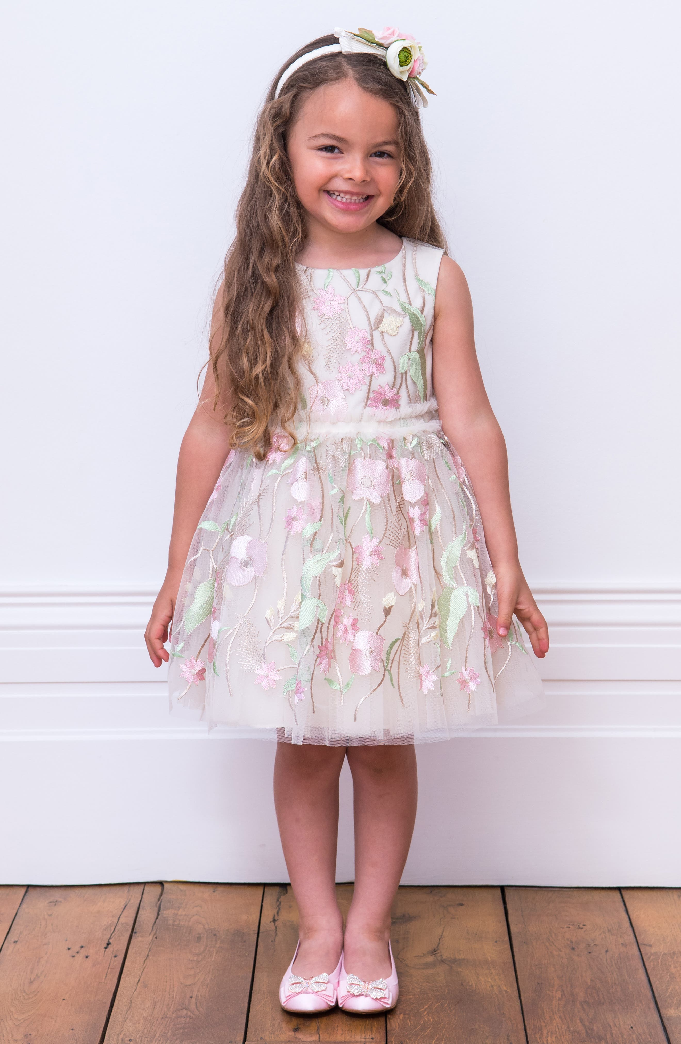 DAVID CHARLES,                             Pastel Embroidered Tulle Dress,                             Alternate thumbnail 3, color,                             IVORY/ PINK