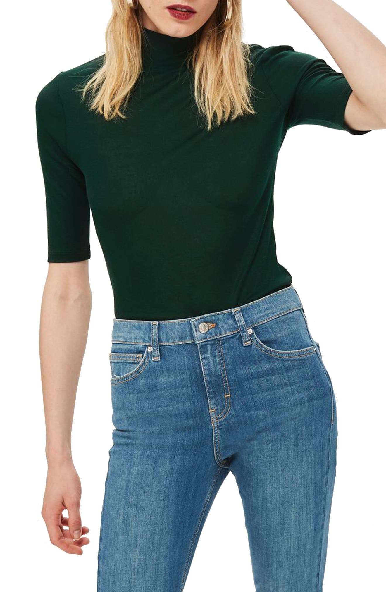 Elbow Sleeve Turtleneck Top,                         Main,                         color, 300