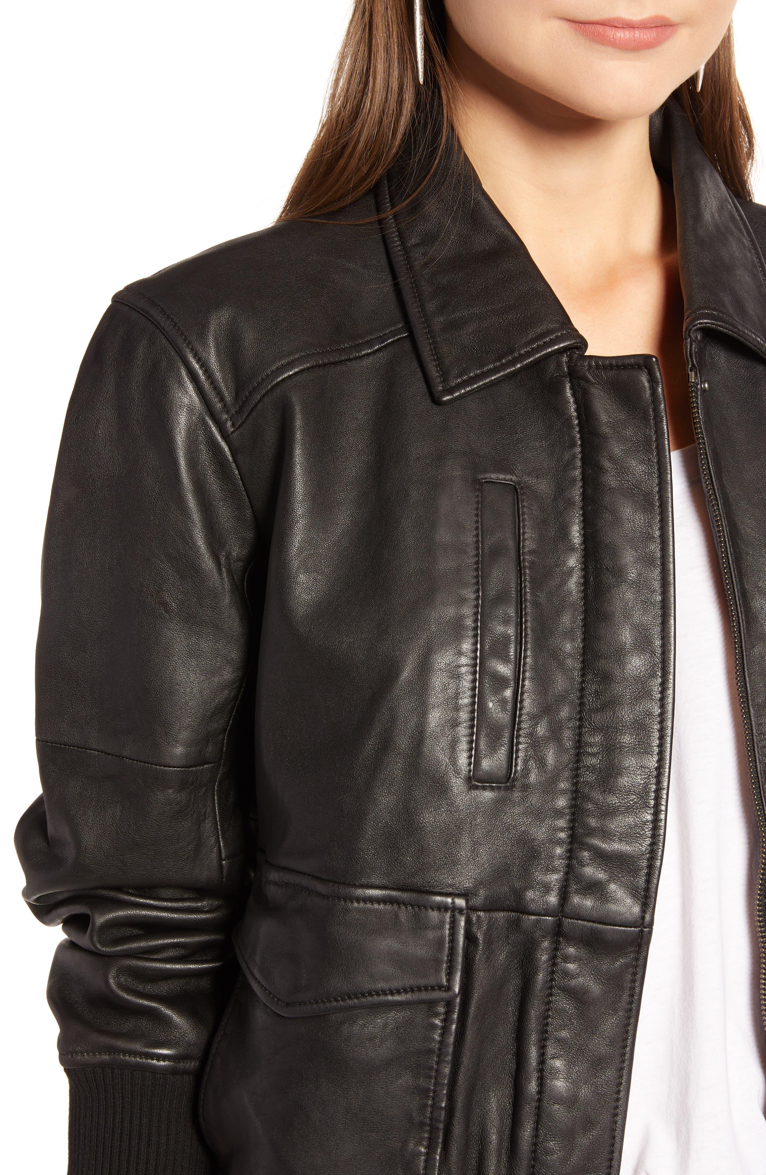 Leather Aviator Jacket,                             Alternate thumbnail 4, color,                             BLACK