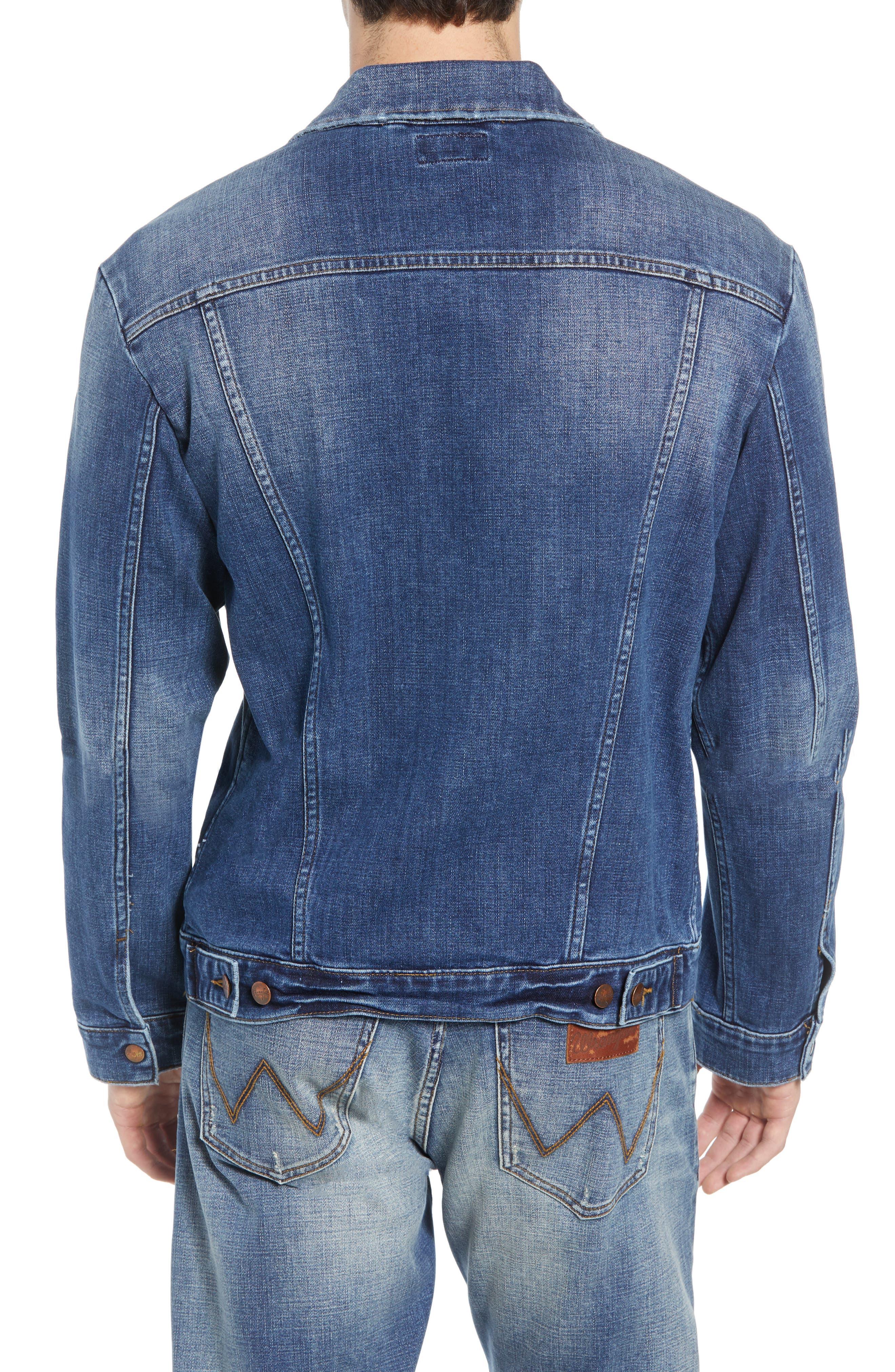 Heritage Pleated Denim Jacket,                             Alternate thumbnail 2, color,                             MID WASH