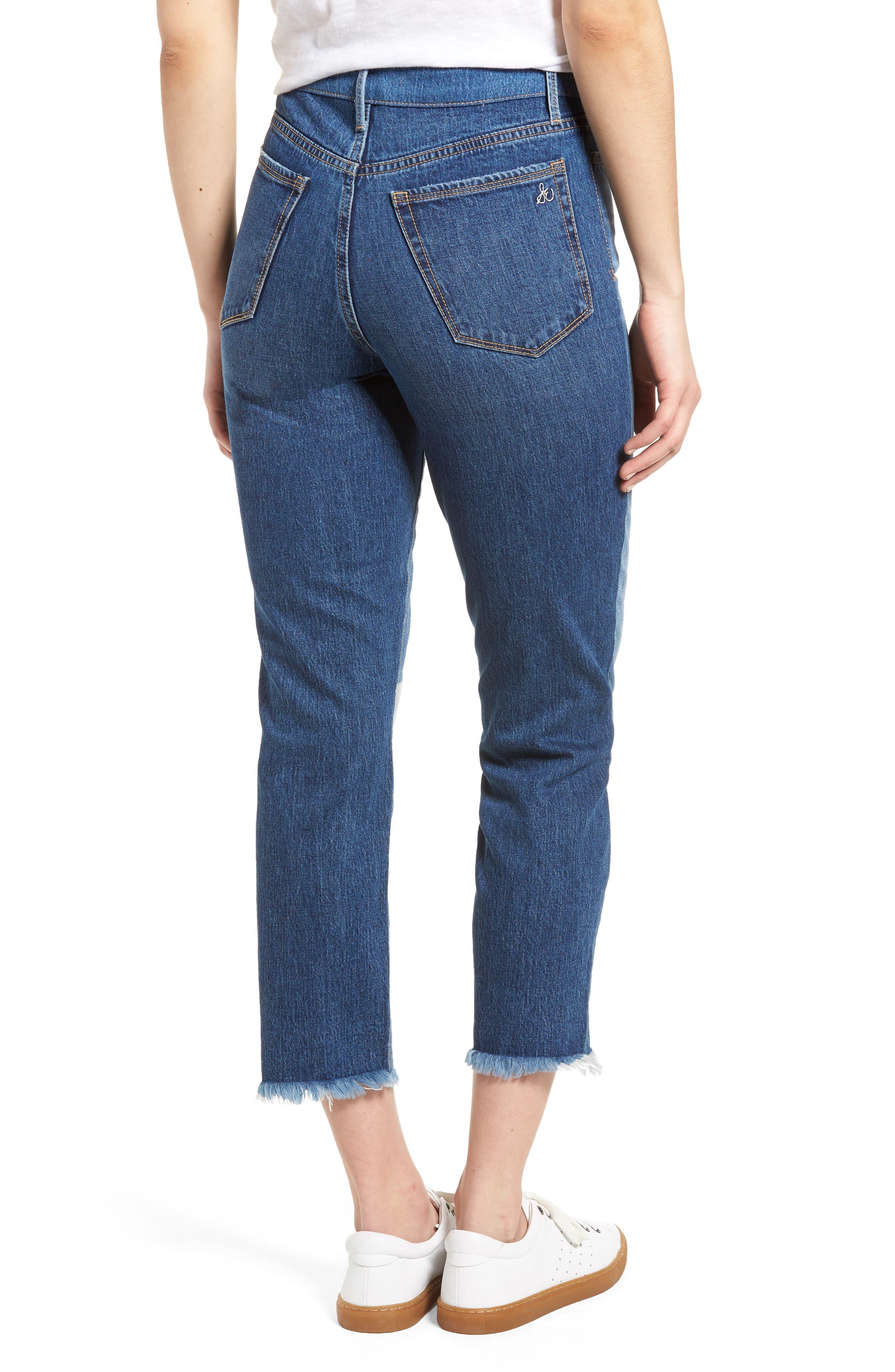 The Mary Jane Fringe Hem Contrast Jeans,                             Alternate thumbnail 2, color,                             410