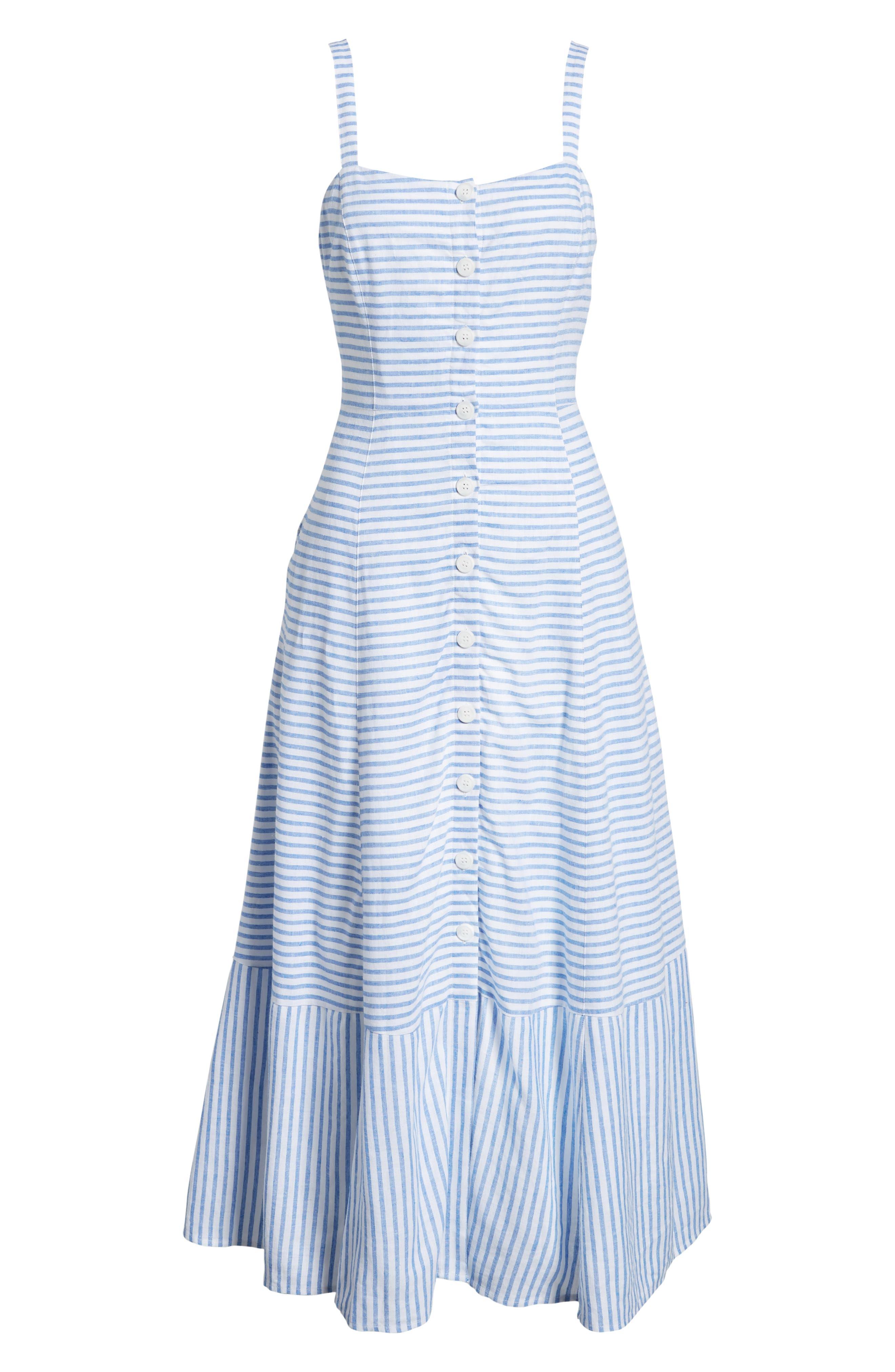 Button Front Stripe Linen Blend Dress,                             Alternate thumbnail 7, color,
