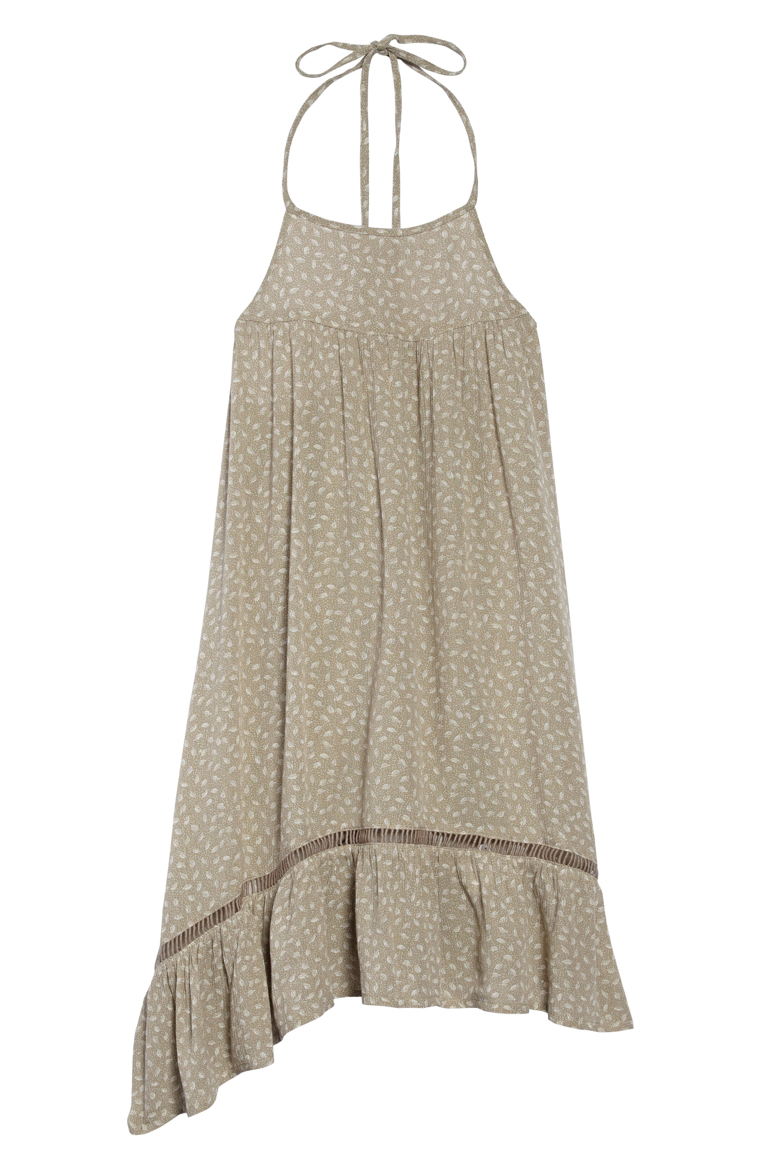 Danielle Ruffle Halter Dress,                         Main,                         color, LAUREL OAK