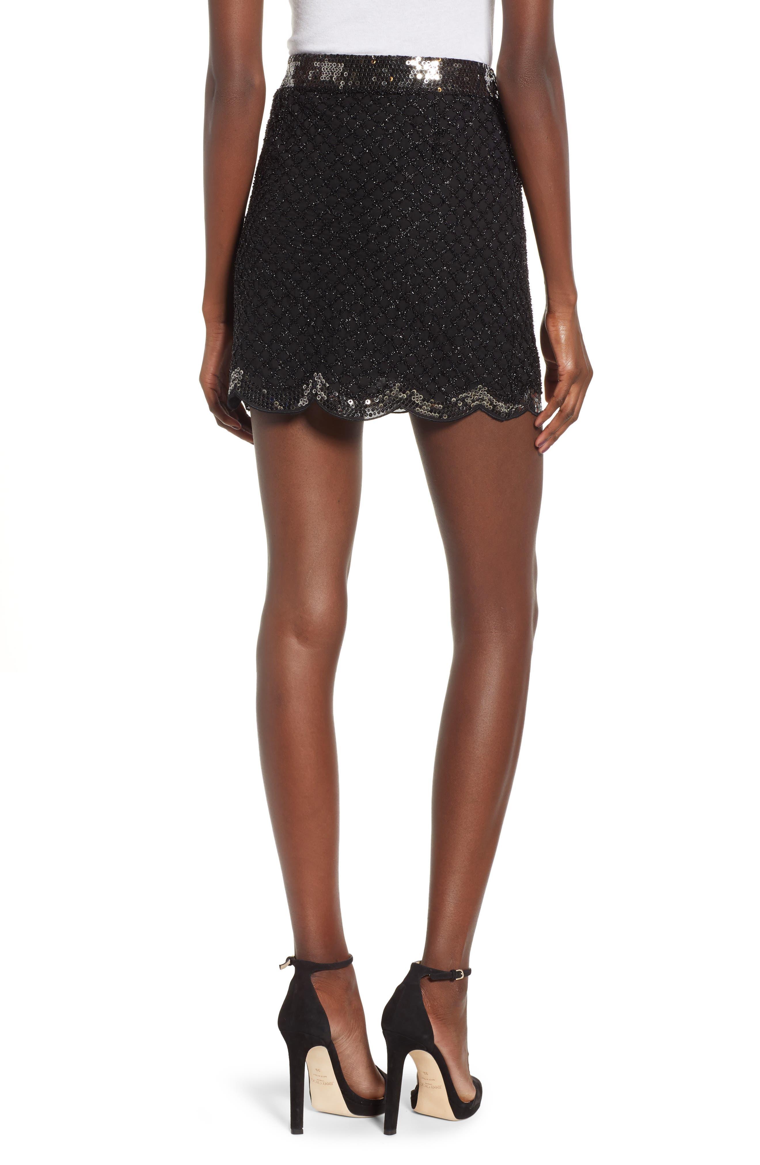 Sequin Scallop Hem Miniskirt,                             Alternate thumbnail 2, color,                             001