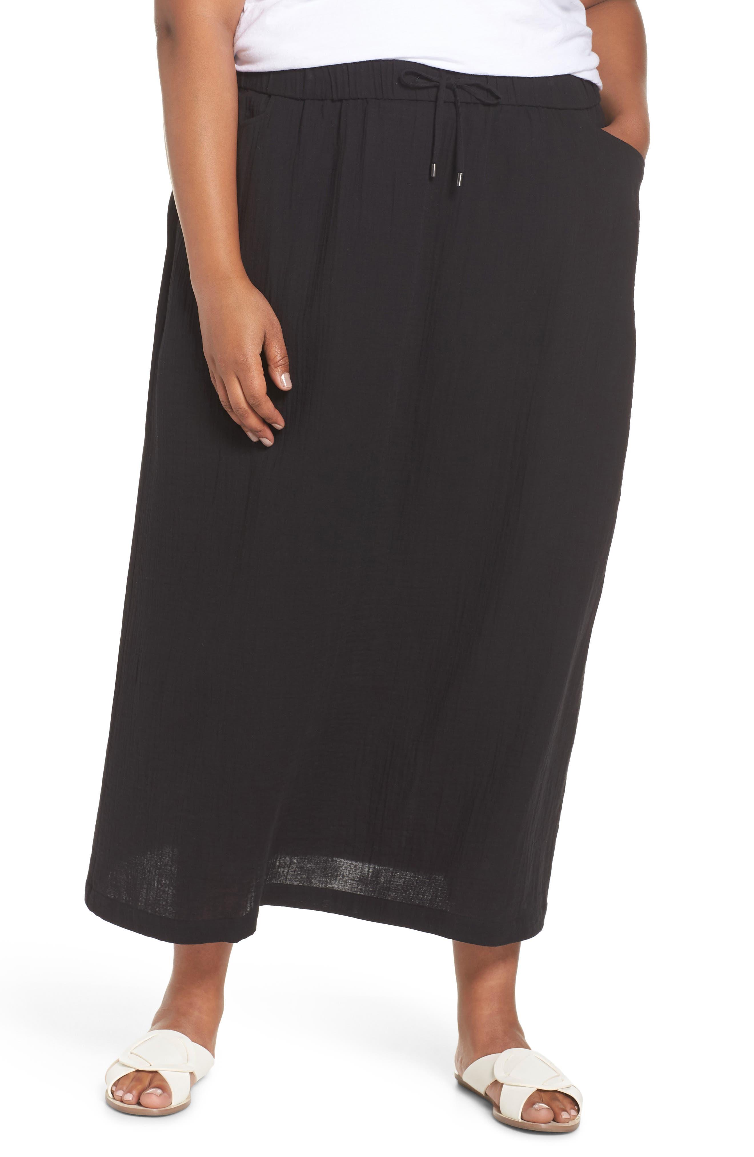 Drawstring Maxi Skirt,                         Main,                         color, 001