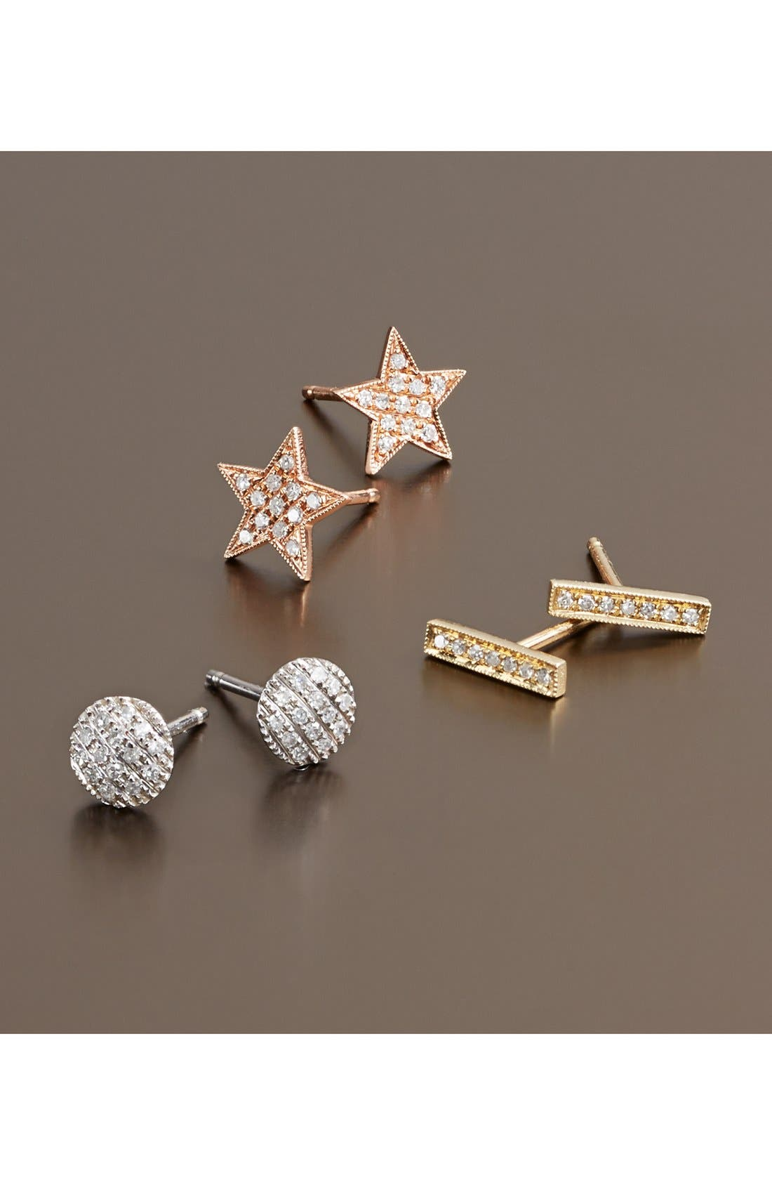 'Julianne Himiko' Diamond Star Stud Earrings,                             Alternate thumbnail 4, color,                             001