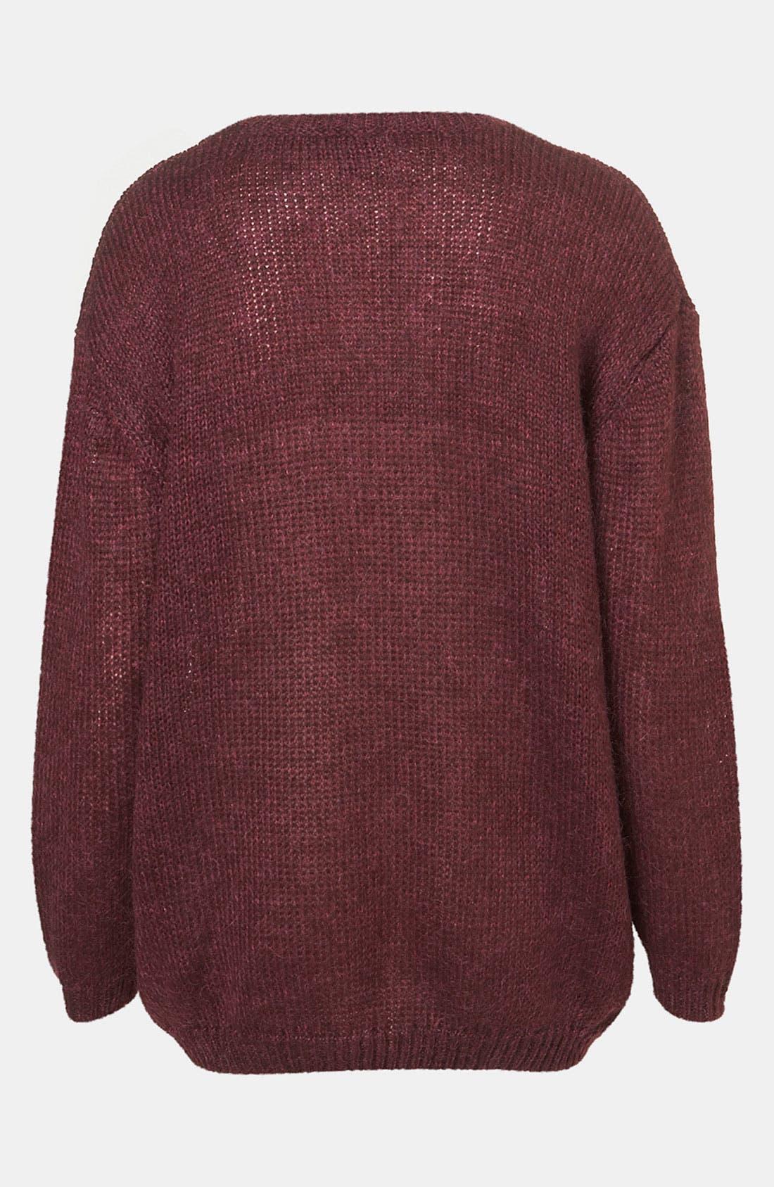 TOPSHOP,                             'Bored' Faux Leather Appliqué Sweater,                             Alternate thumbnail 2, color,                             930