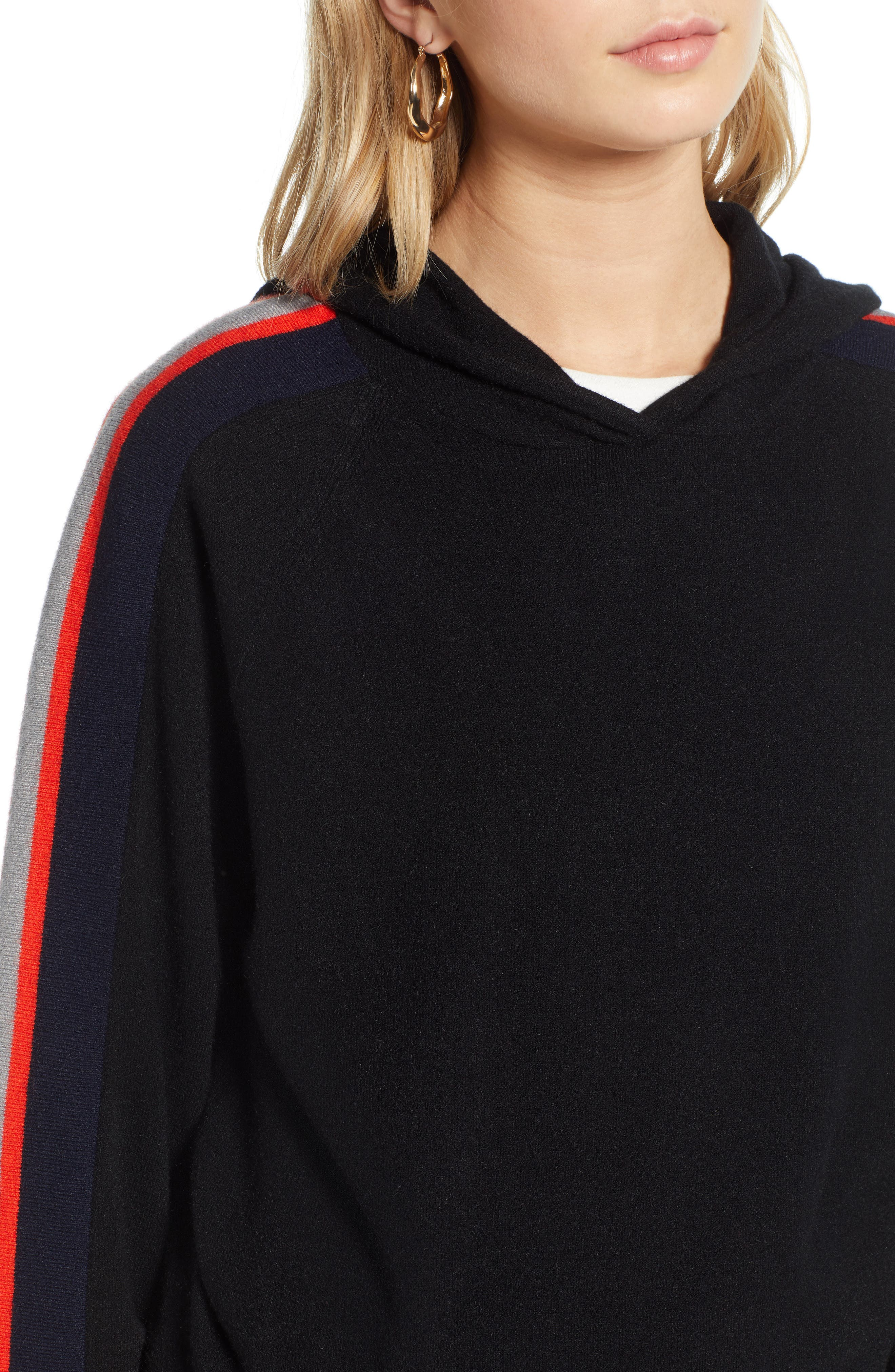 TREASURE & BOND,                             Stripe Hoodie,                             Alternate thumbnail 4, color,                             BLACK/ RED FIERY COMBO