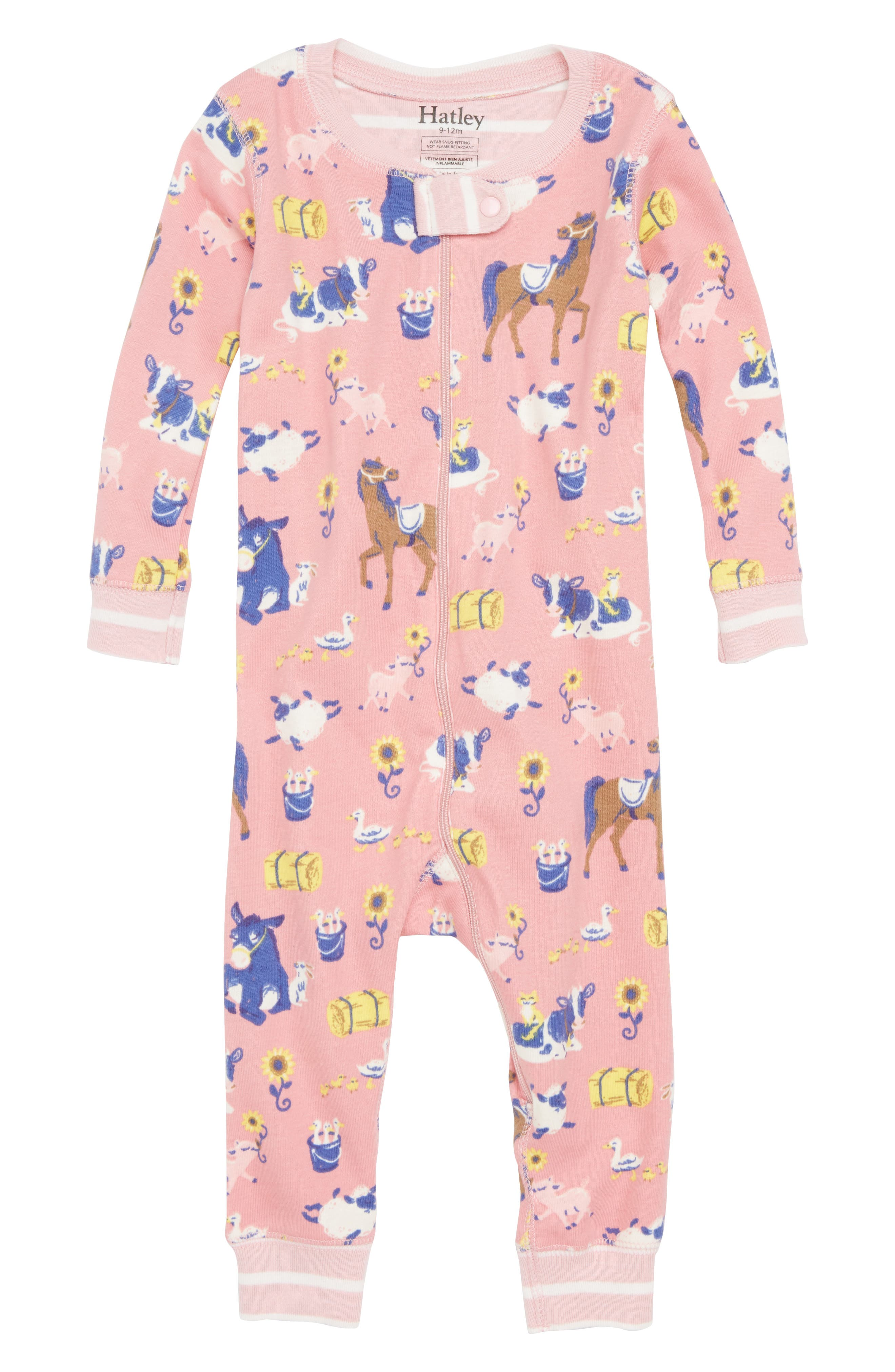 Farm Friends Organic Cotton Fitted One-Piece Pajamas,                             Main thumbnail 1, color,