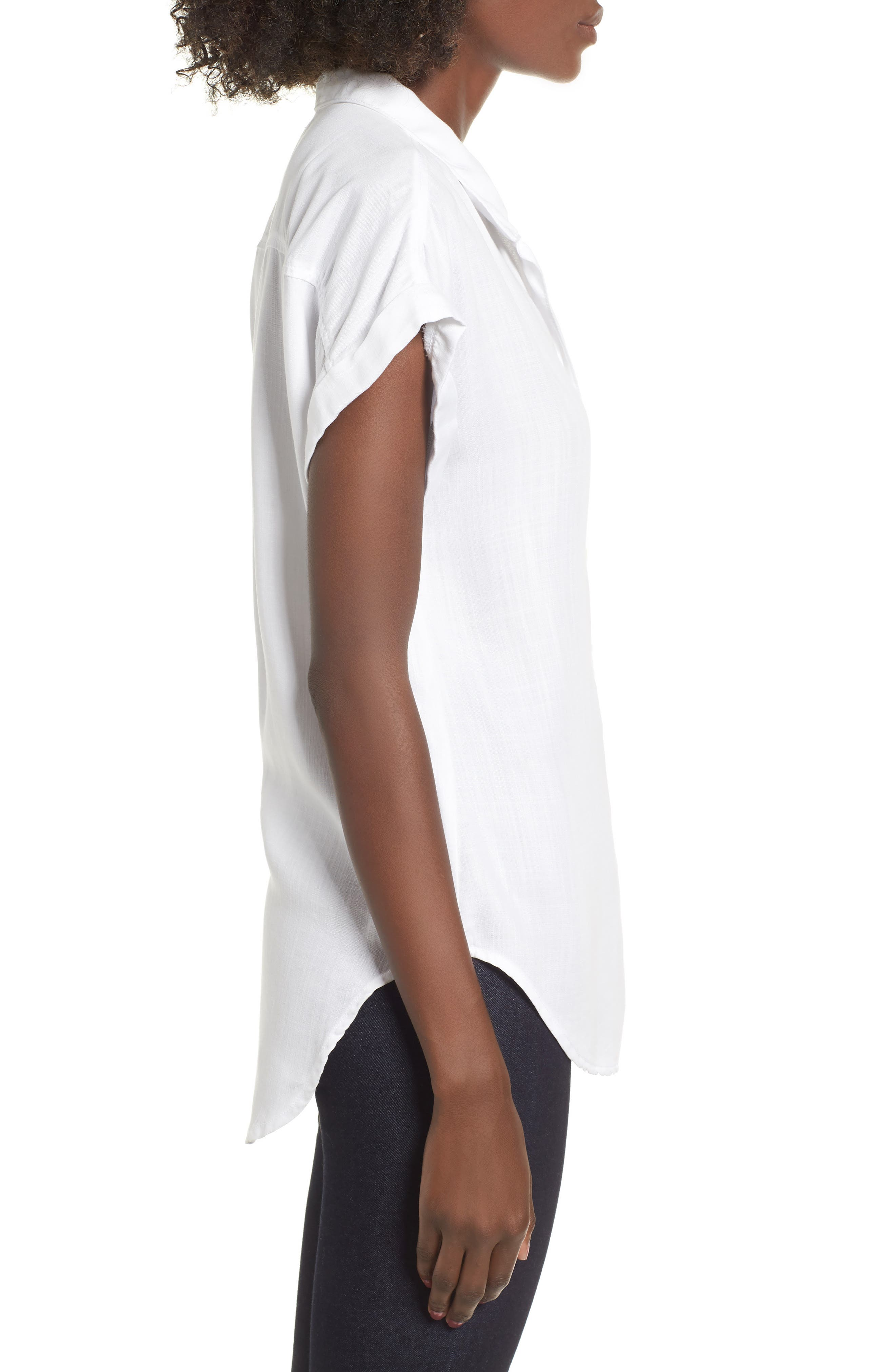 Cap Sleeve Shirt,                             Alternate thumbnail 3, color,                             WHITE