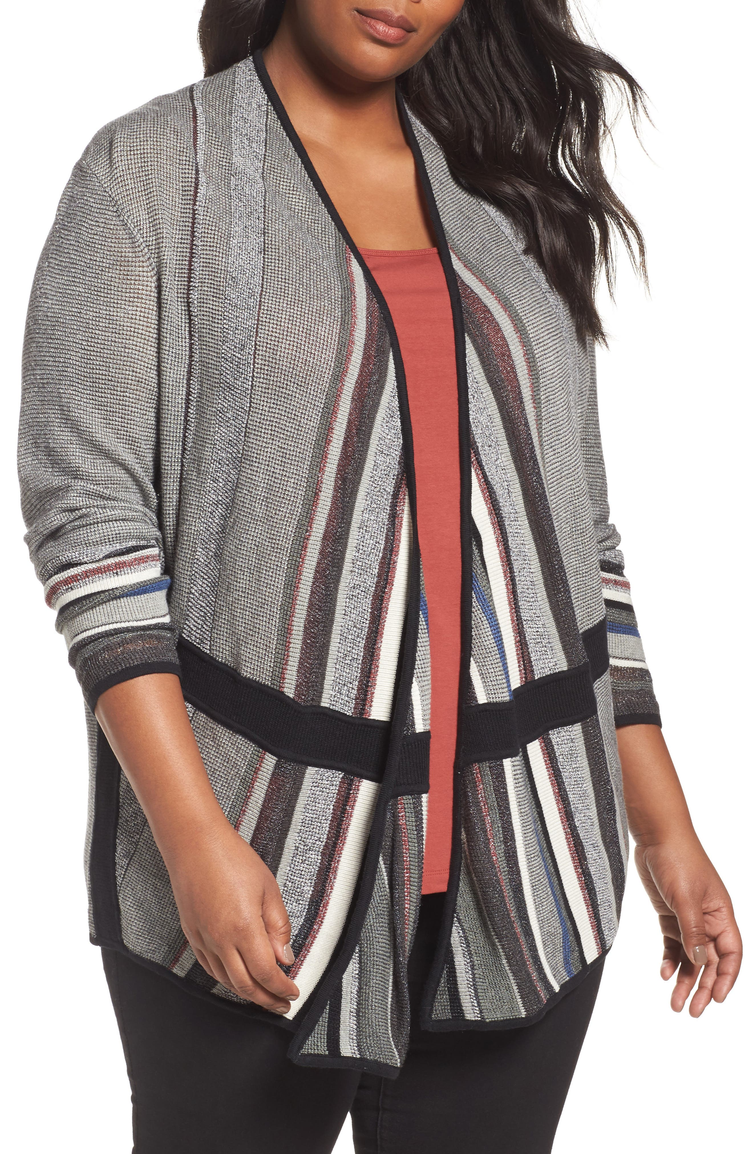Mirror Image Cardigan,                         Main,                         color, BLACK MULTI
