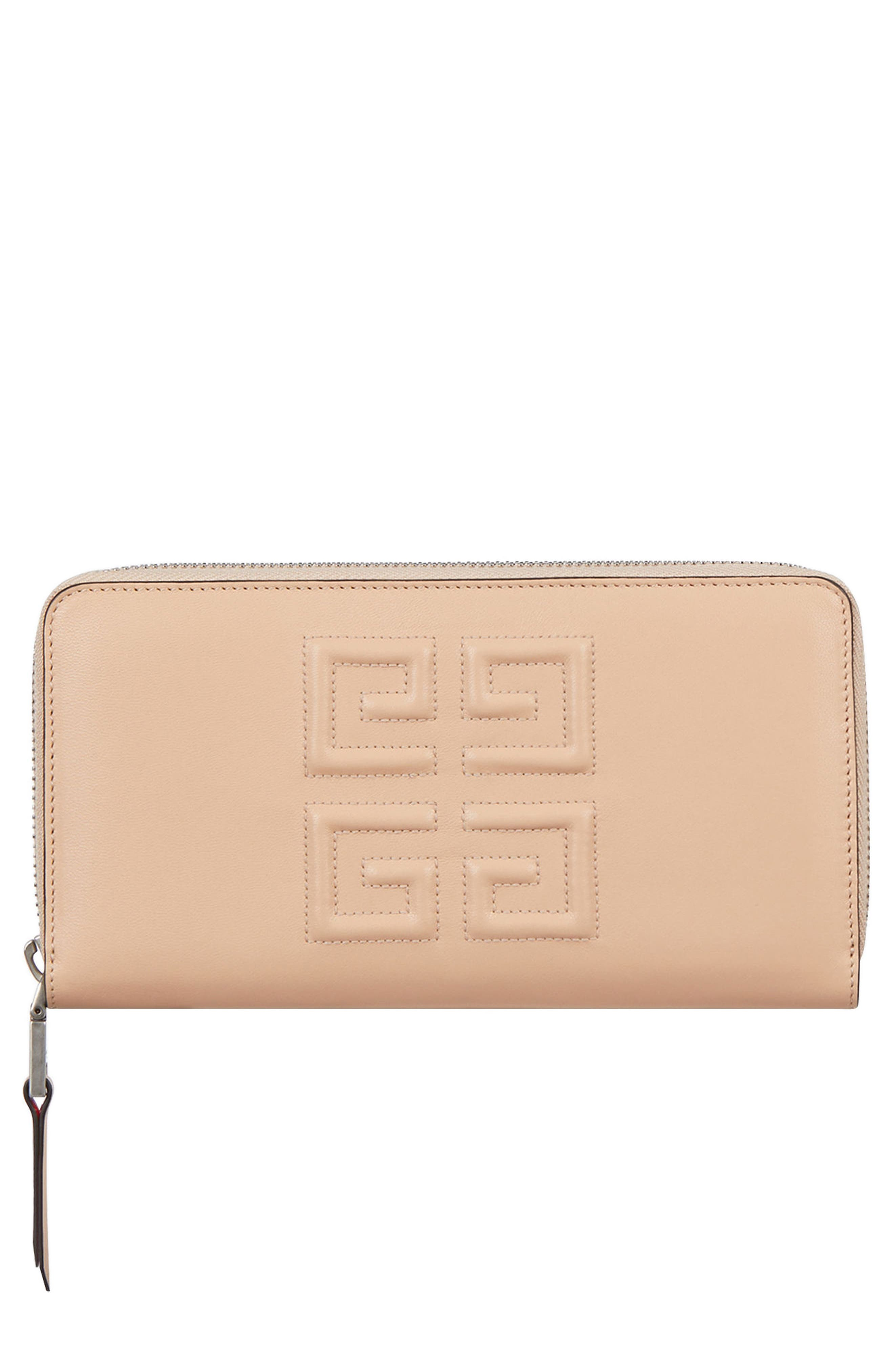 Embossed Logo Leather Zip Around Wallet,                         Main,                         color, POWDER